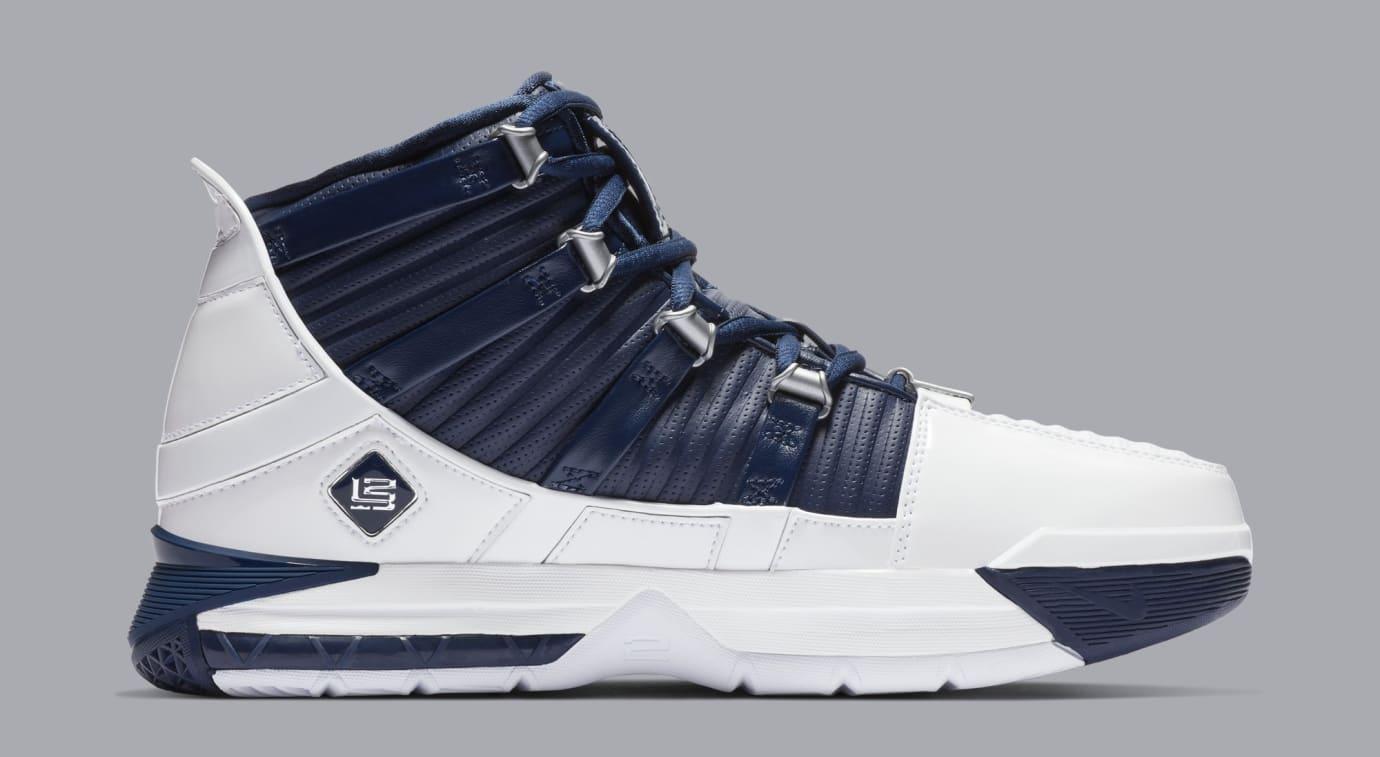 Nike Zoom LeBron 3 'White/Navy Blue/Silver' AO2434-103 (Medial)
