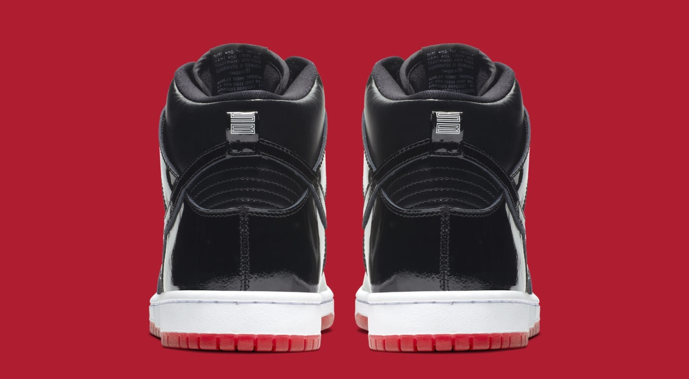 Image via Nike Nike SB Dunk High  Bred  AJ7730-001 (Heel) 0021fee2e