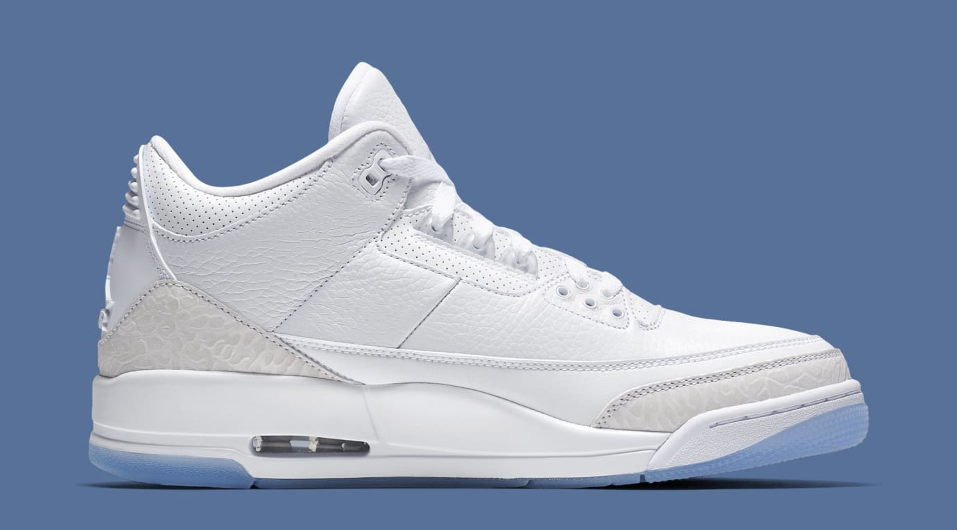 cheap for discount 46b5e 53d34 Image via Nike Air Jordan 3 Retro  Pure White  136064-111 (Medial)