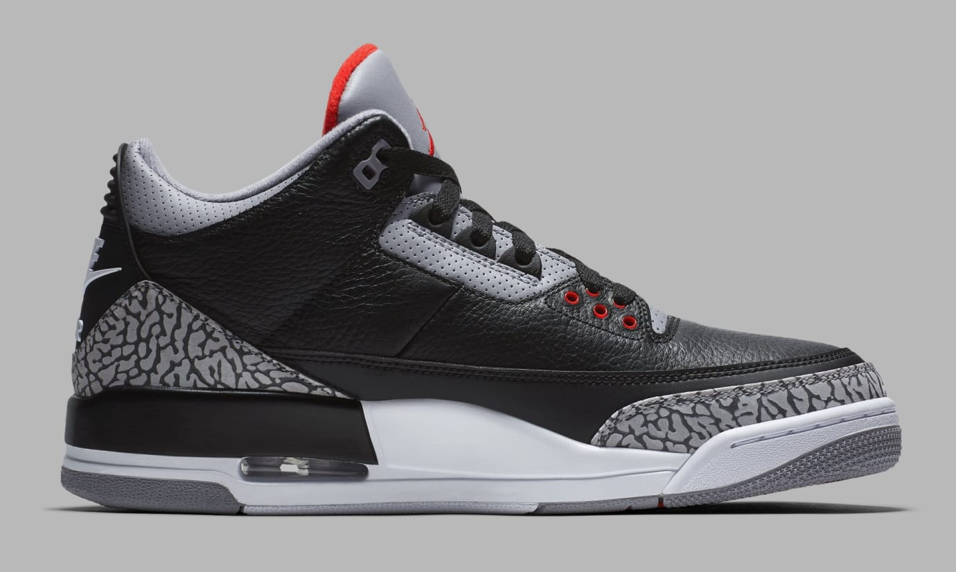 Air Jordan 3 Black/Cement Grey-White-Fire Red 854262-001 (Medial)