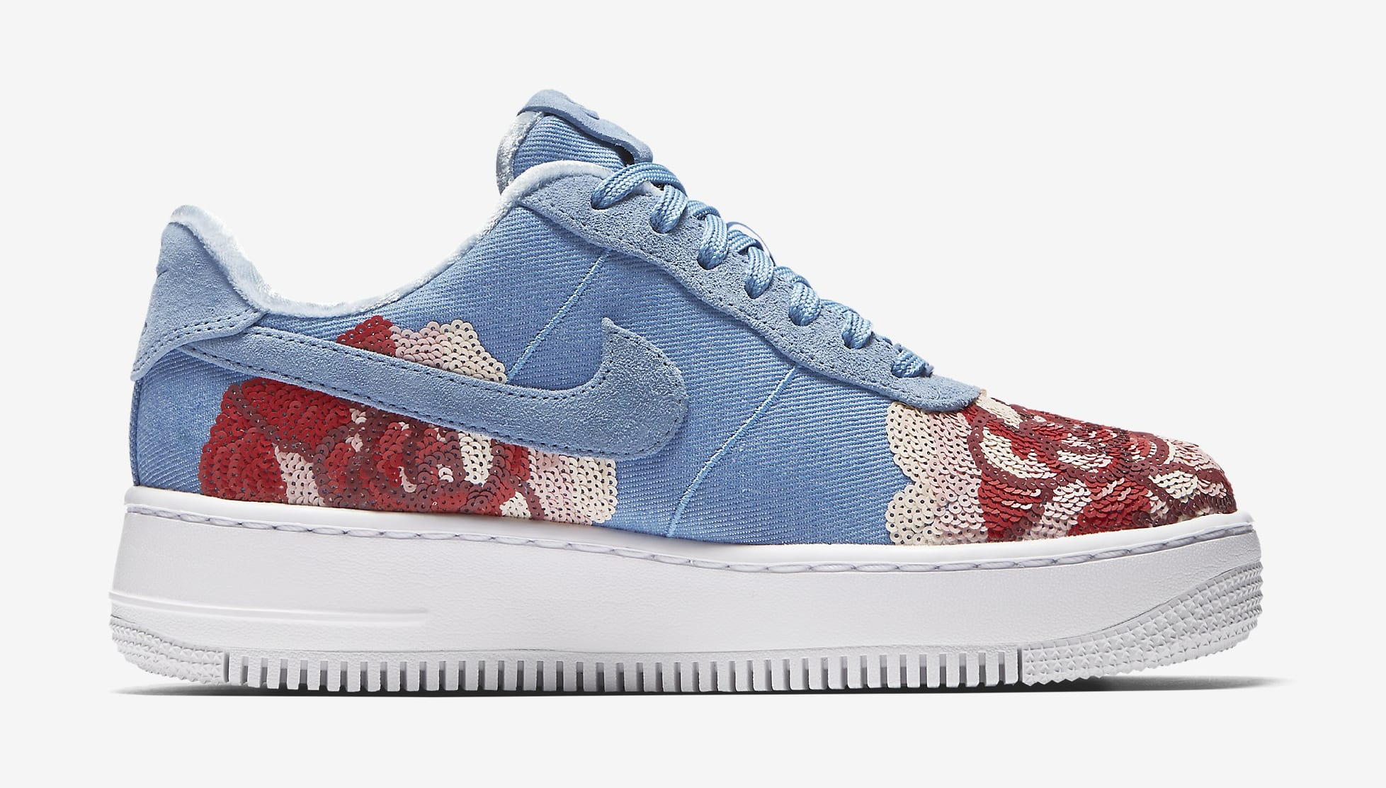 Nike Air Force 1 Low Floral Sequin Pack 898421-402 (Medial)