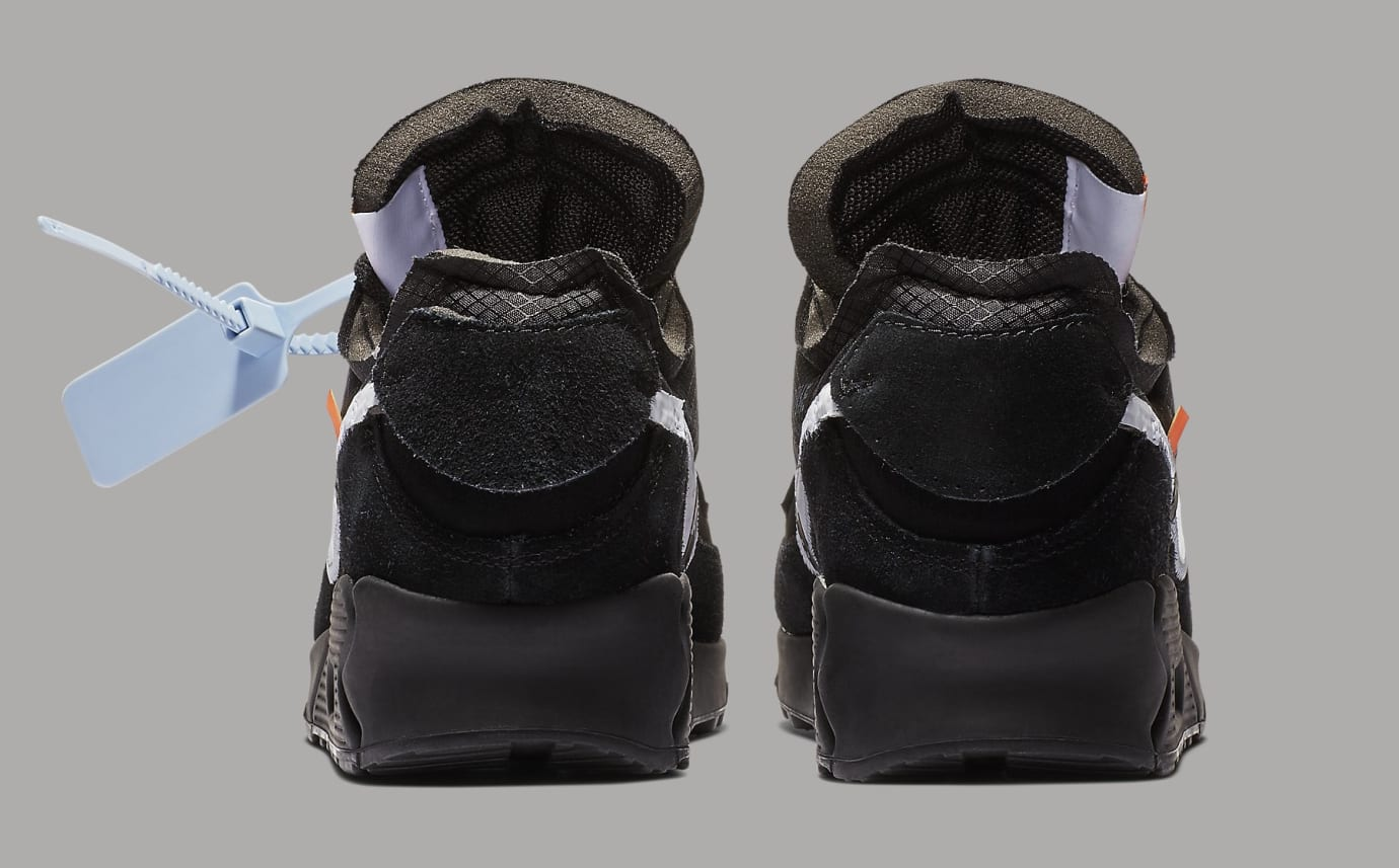 Off-White x Nike Air Max 90 Black Release Date AA7293-001 Heel