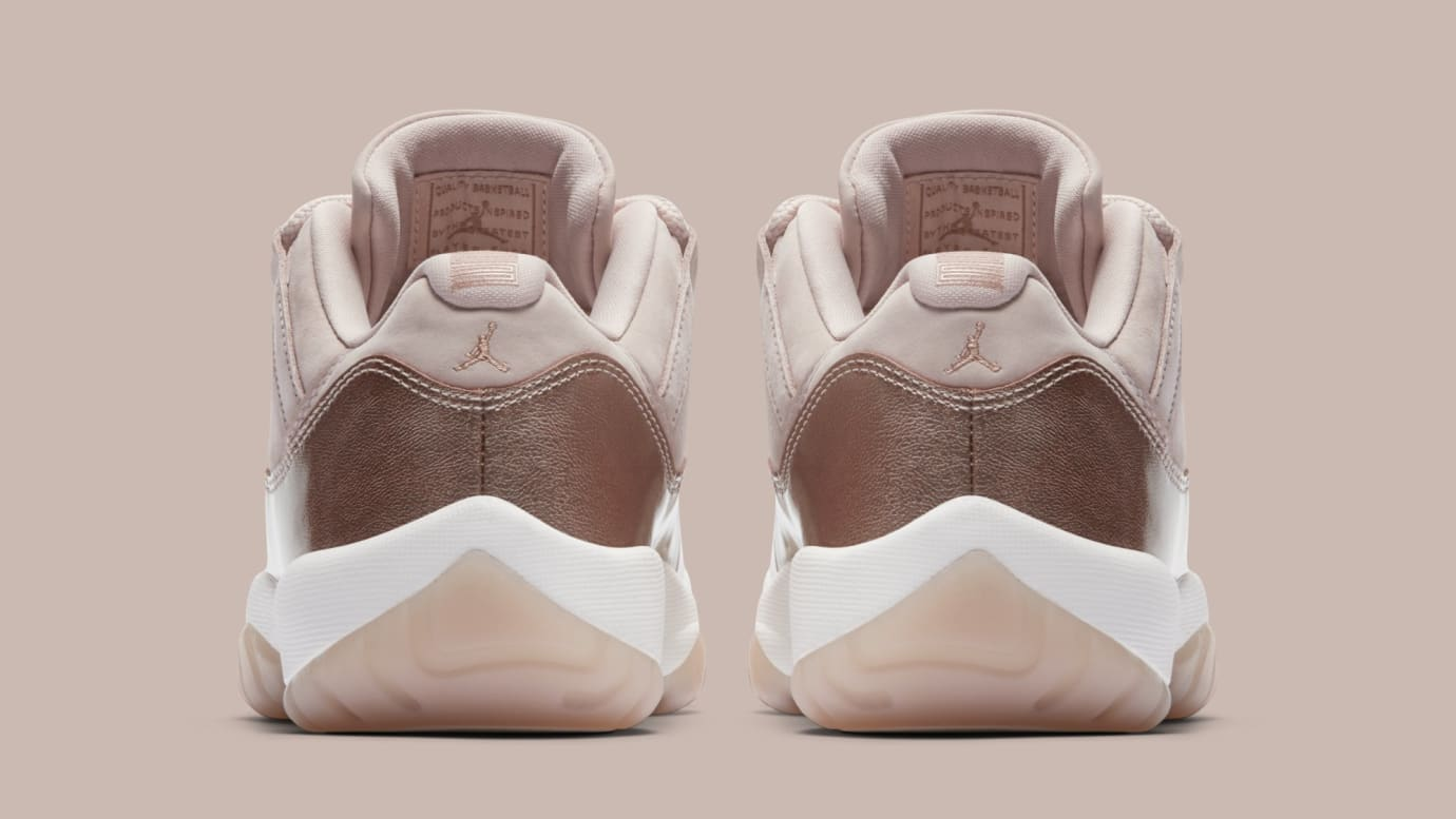 4724b334186967 Image via Nike Air Jordan 11 Low  Rose Gold  AH7860-105 (Heel)