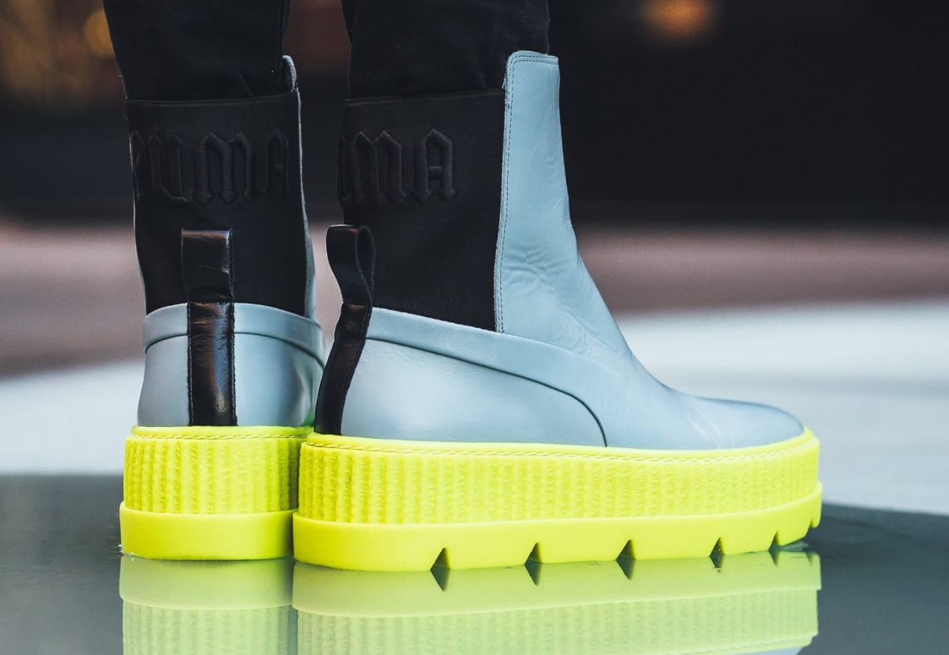 d45c73d49698 Rihanna x Puma Fenty Chelsea Sneaker Boot Grey Release Date Heel
