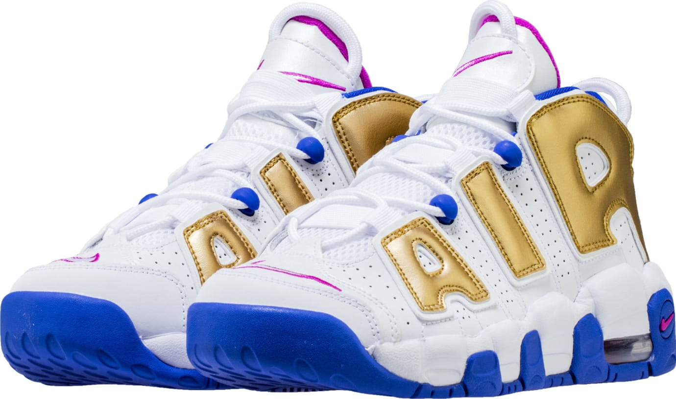 33be0c9b726 Nike Air More Uptempo GS White Fuchsia Blast Metallic Gold Racer ...
