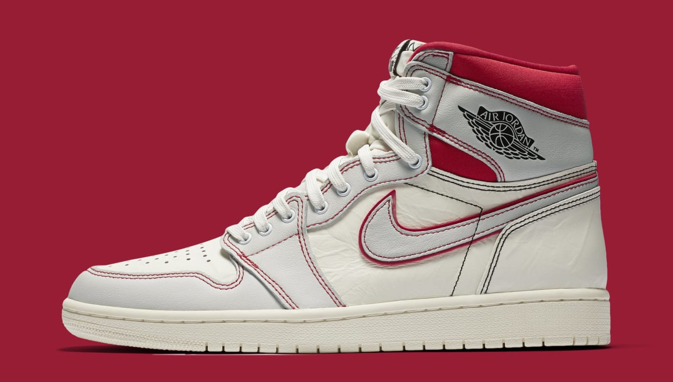 Air Jordan 1 'Sail/Black-Phantom-University Red' 555088-160 (Lateral)