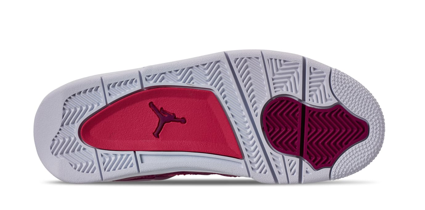 1b28372bc11720 Image via Finish Line Air Jordan 4 Retro GS  True Berry Rush Pink White   487724-
