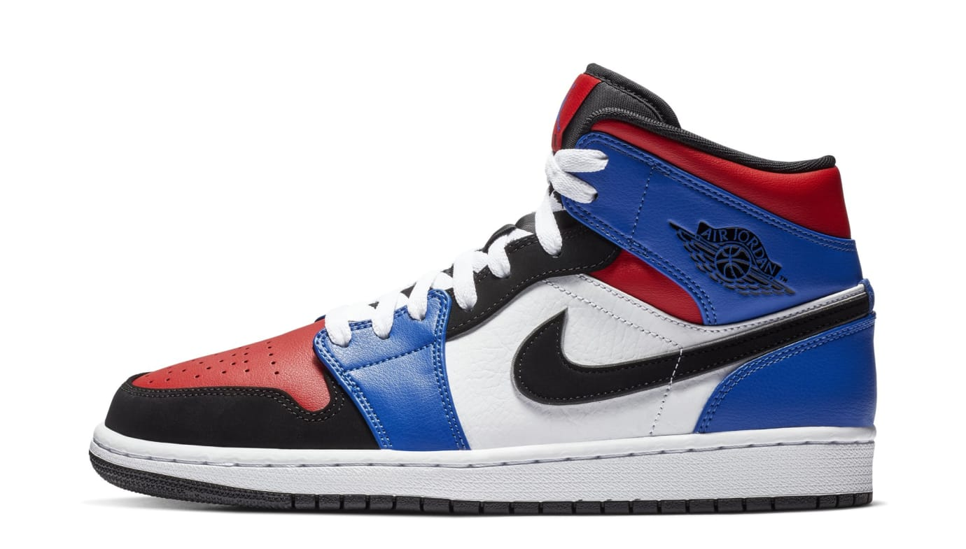Air Jordan 1 Mid 'Blue/Red/White/Black' 554724-124 (Lateral)