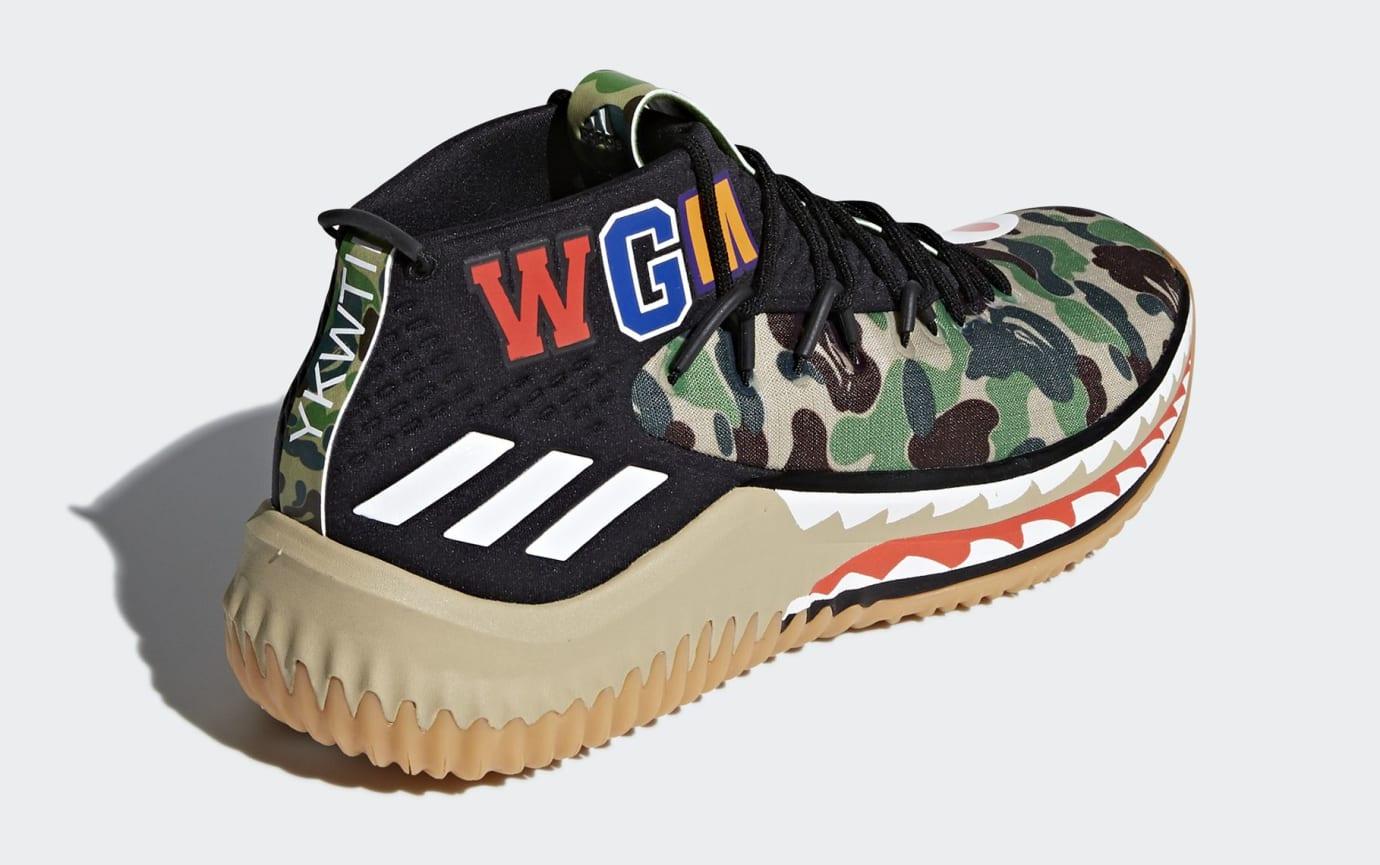 BAPE x Adidas Dame 4 'Green Camo' AP9974 (Heel)