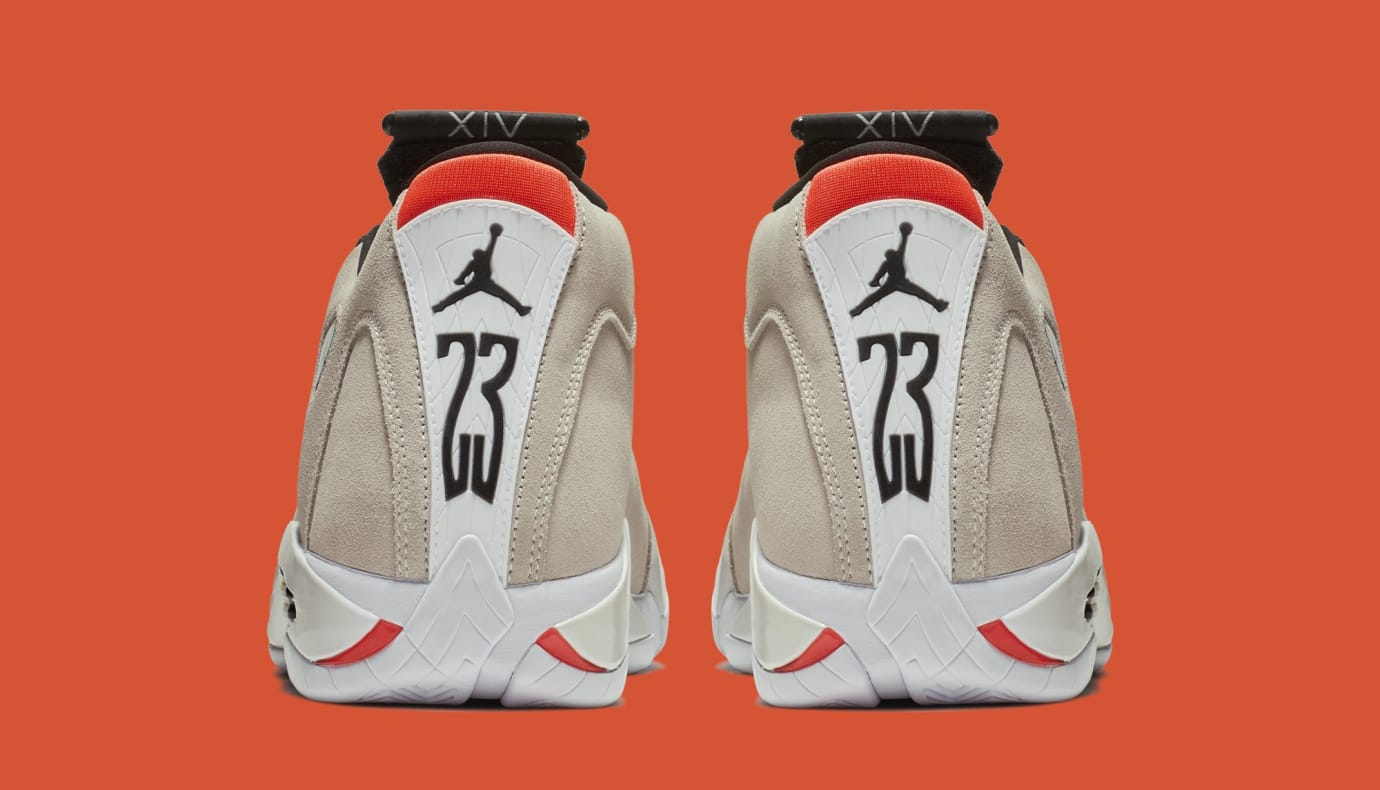 detailed look 95e1b c8d83 Image via Nike Air Jordan 14  Desert Sand  487471-021 (Heel)