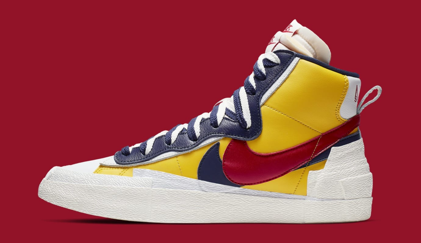 Sacai x Nike Blazer High 'Varsity Maize/Varsity Red/Midnight Navy' BV0072-700 (Lateral)