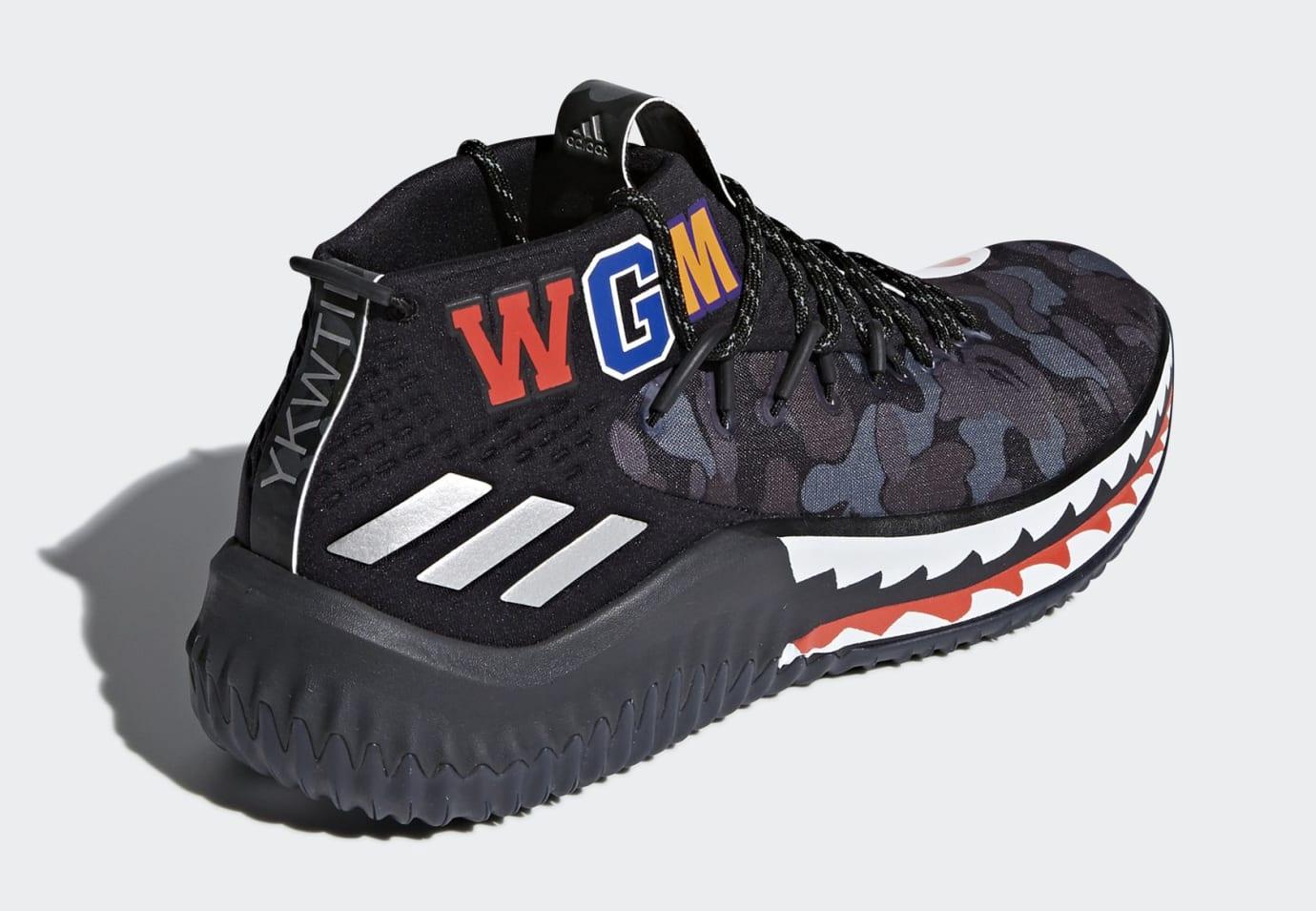 best website baf1a a141b Image via Adidas BAPE x Adidas Dame 4  Black Camo  AP9975 (Heel)