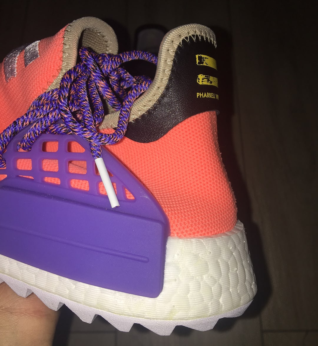Pharrell x Adidas NMD Hu Breathe Walk Orange Purple Sample Heel