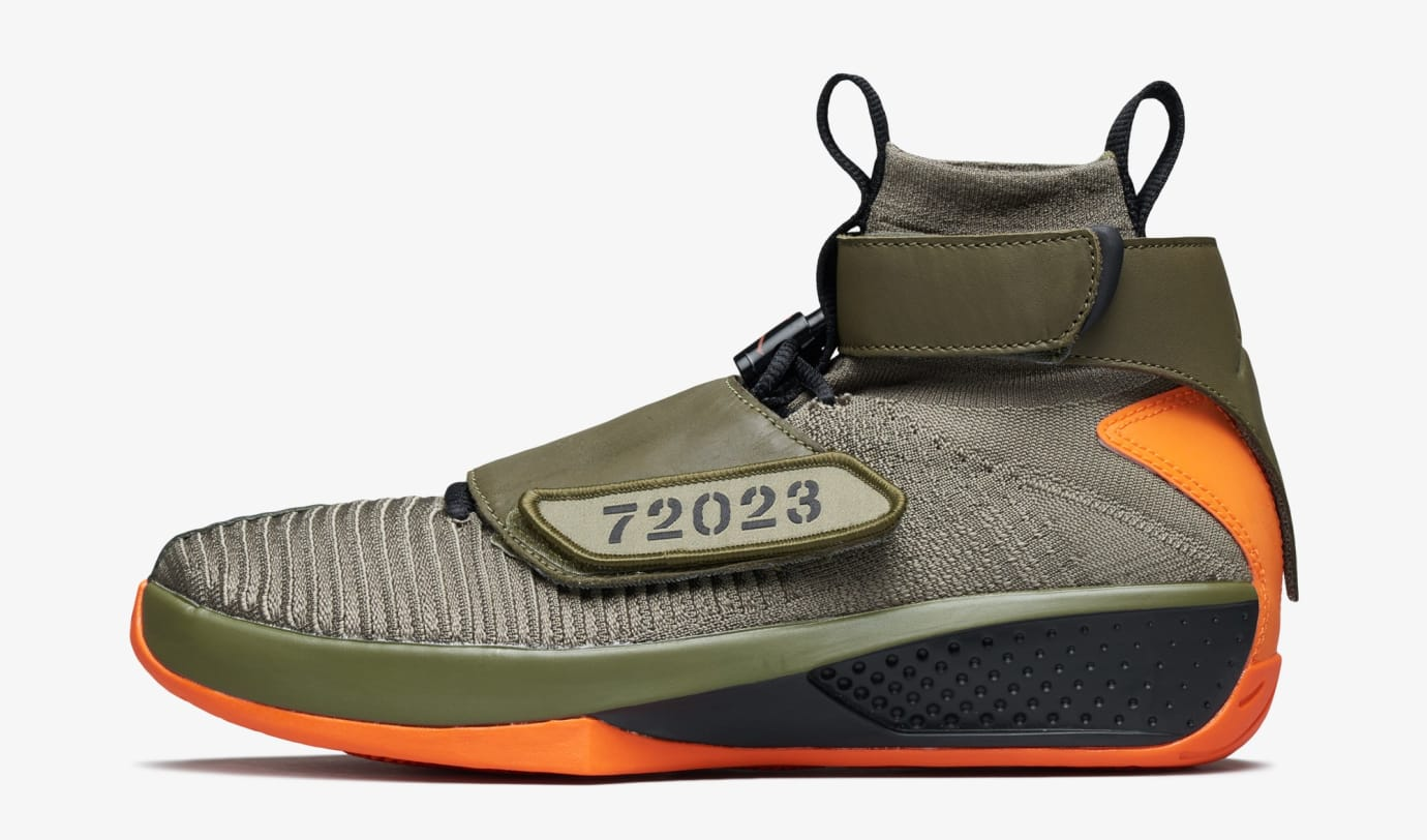 sports shoes 66e11 c7613 Air Jordan 20 Flyknit  Melo Olive Orange  (Lateral)