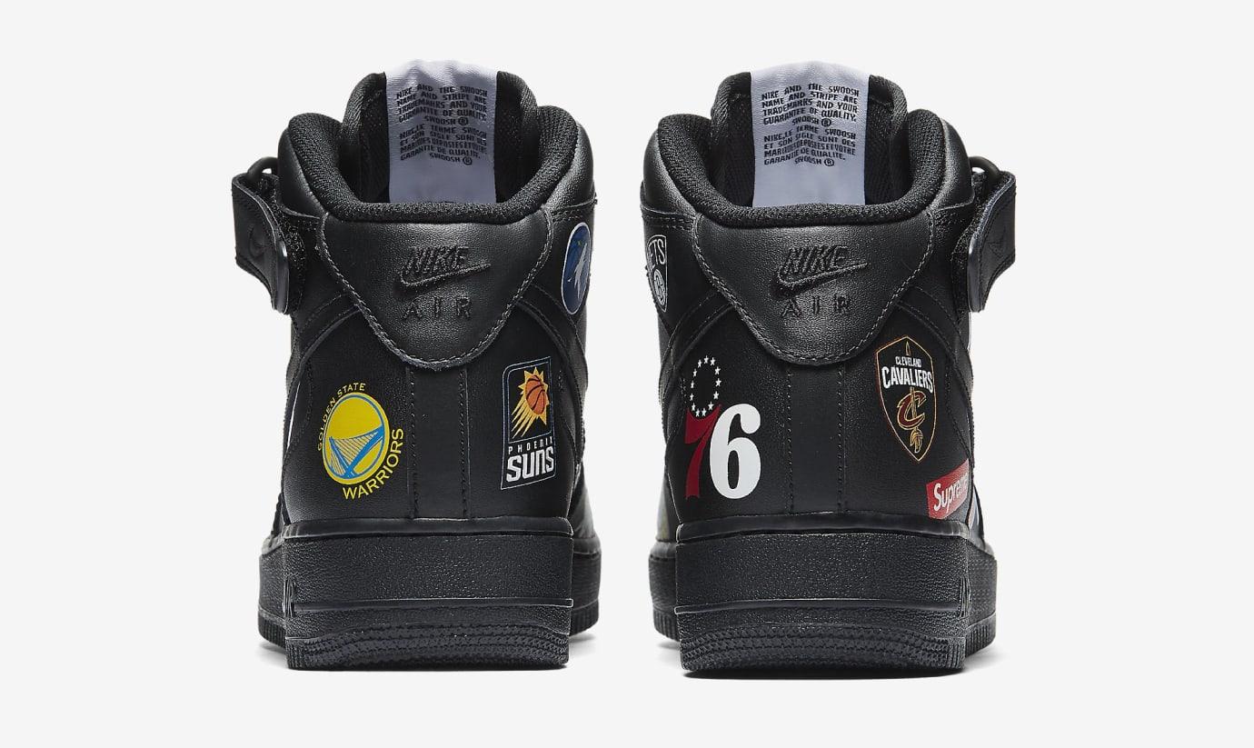 Supreme x Nike Air Force 1 Mid 'Black' AQ8017-001 (Heel)