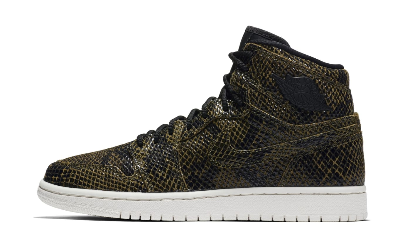 Air Jordan 1 Retro High Premium Women's Snake 'Olive Canvas' AH7389-302 (Lateral)