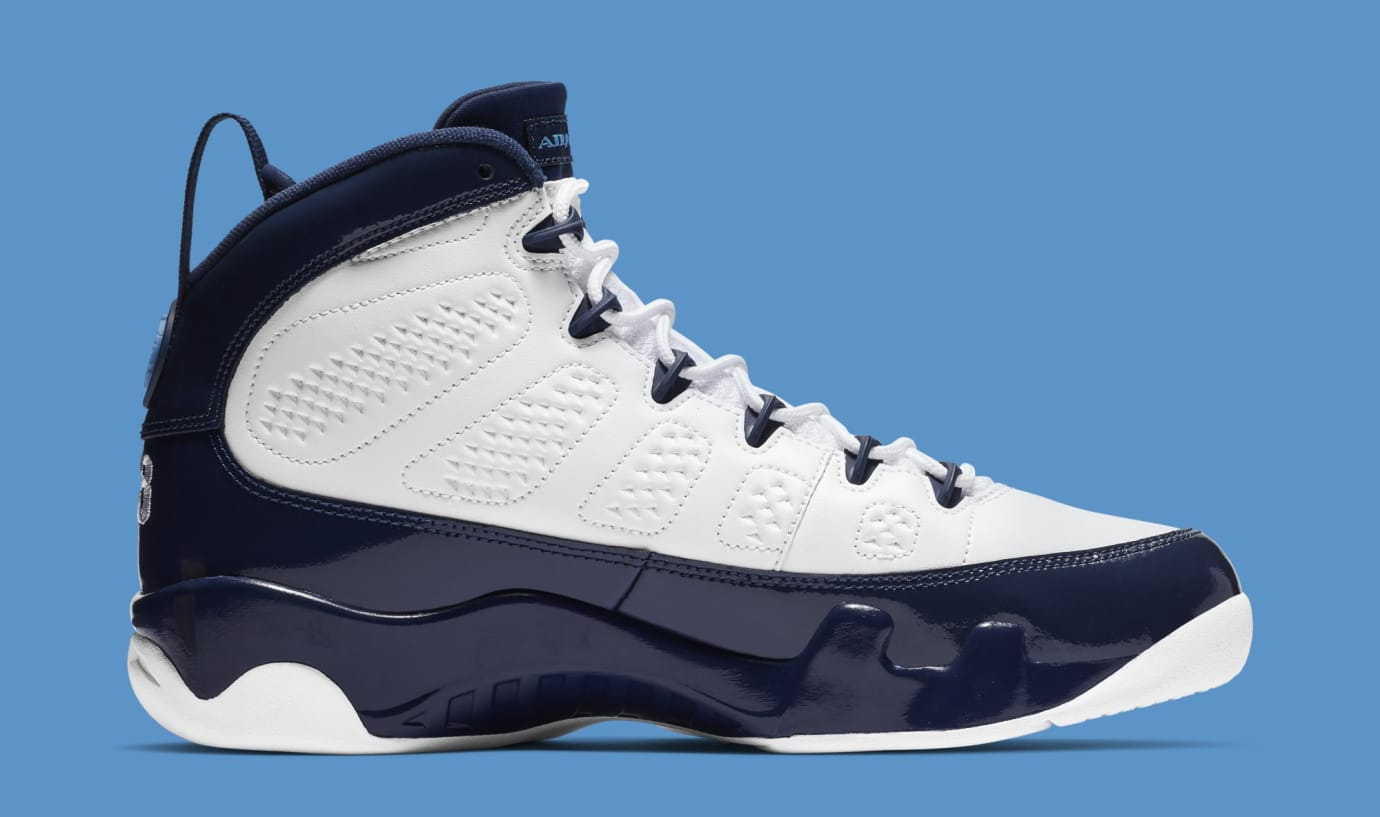 440b36fadafdc6 Image via Nike Air Jordan 9  White Midnight Navy-University Blue   302370-145 (