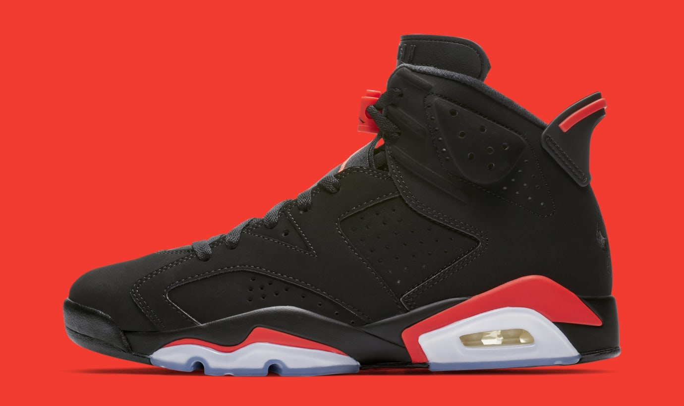 937752ec776 Air Jordan 6  Black Infrared  384664-060 (Lateral) Image via Nike