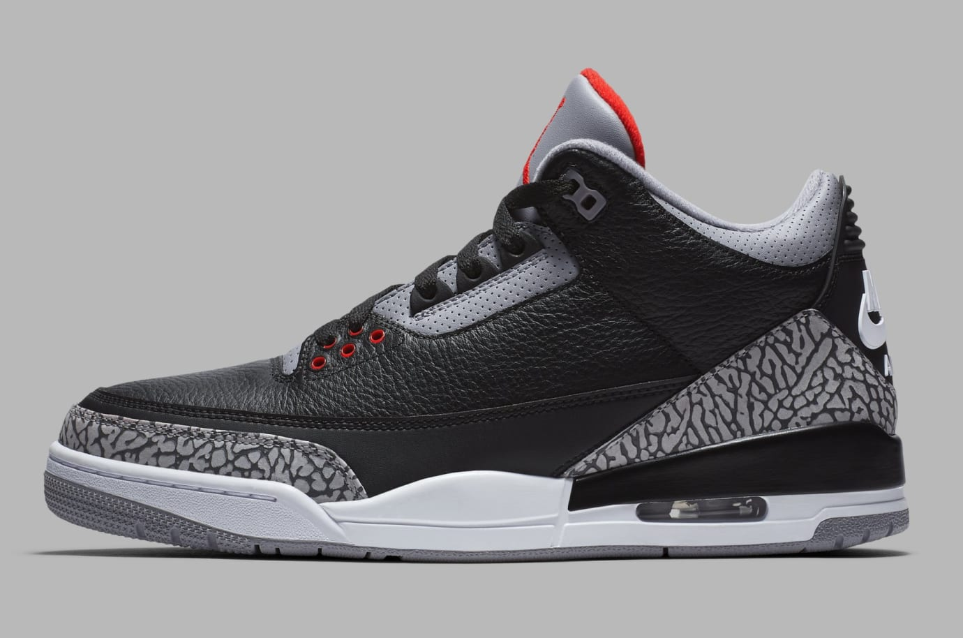 Air Jordan 3 Black/Cement Grey-White-Fire Red 854262-001 (Lateral)