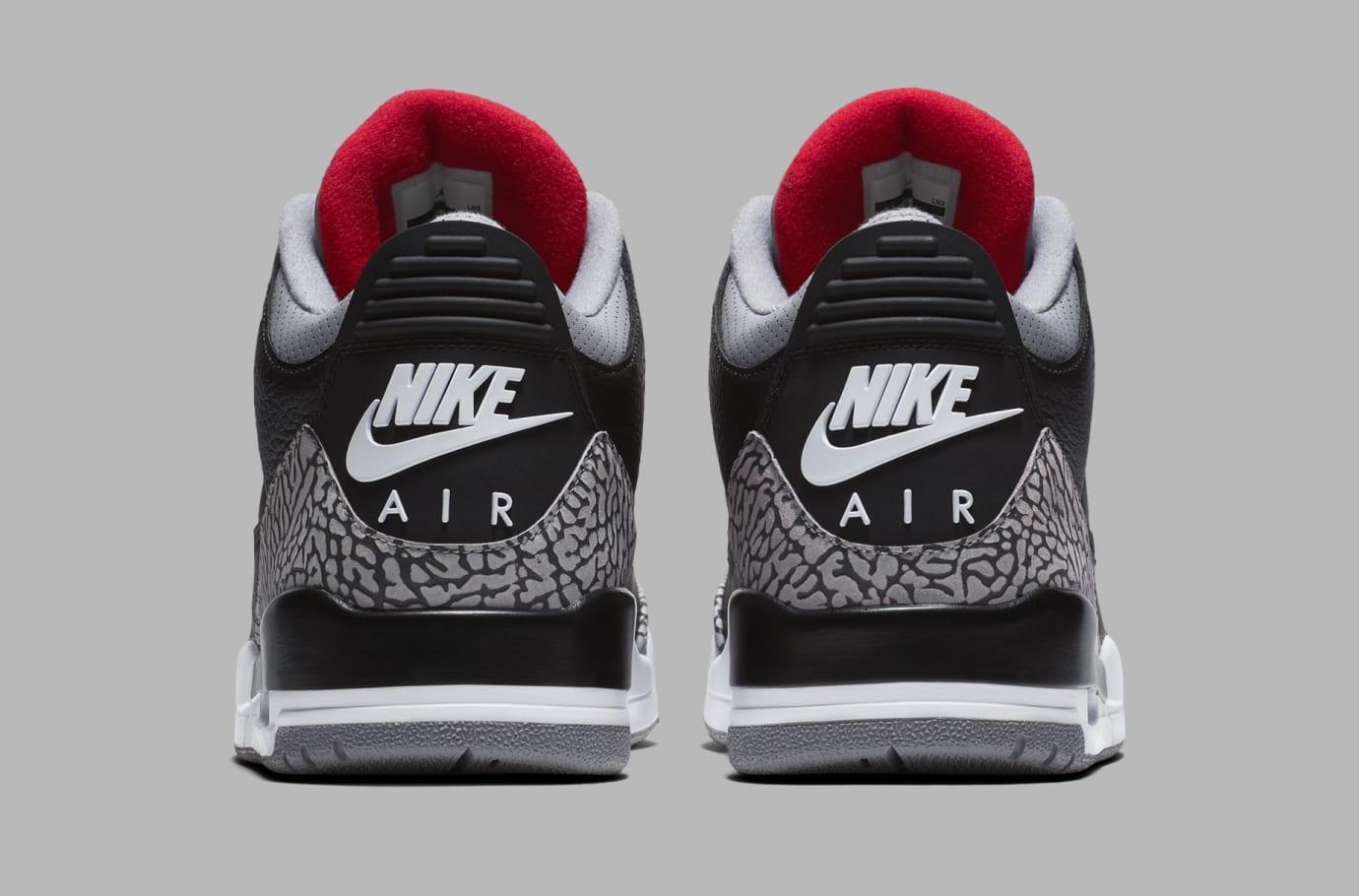 Air Jordan 3 Black/Cement Grey-White-Fire Red 854262-001 (Heel)
