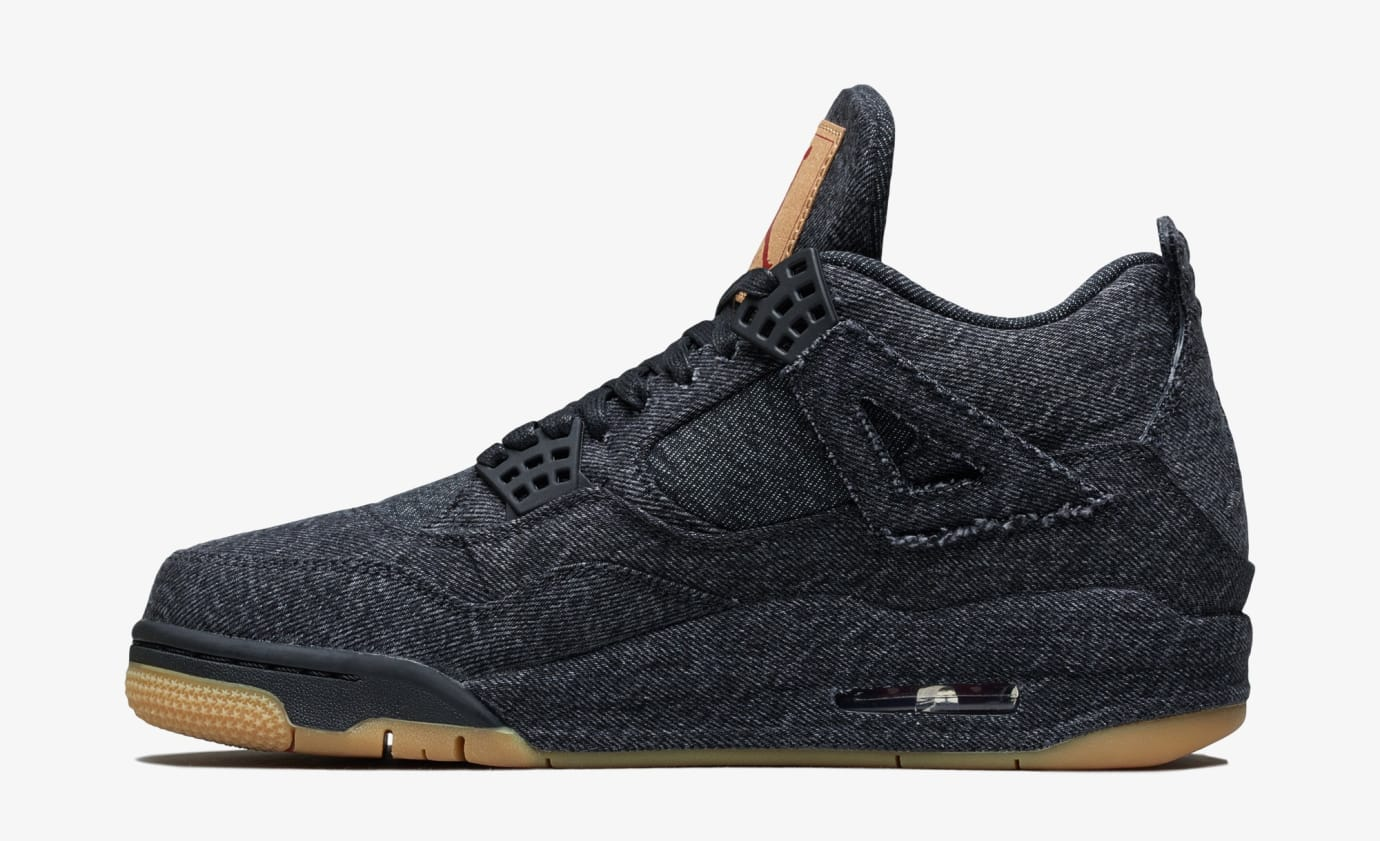 Levi's x Air Jordan 4 'Black' AO2571-001 (Medial)