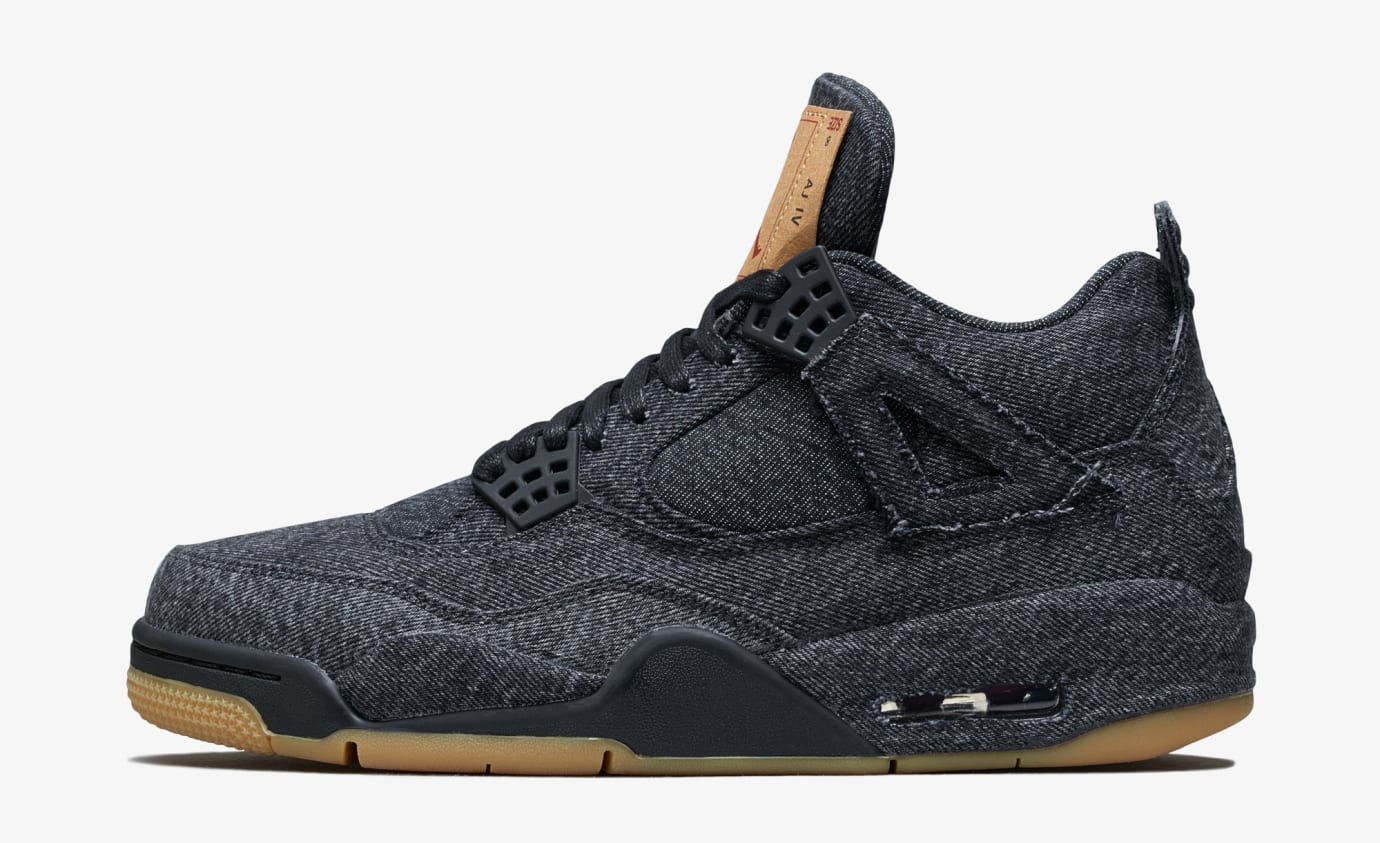 premium selection 46b6b 978cb Image via Nike Levi s x Air Jordan 4  Black  AO2571-001 (Lateral) Image via  Nike US11 ...