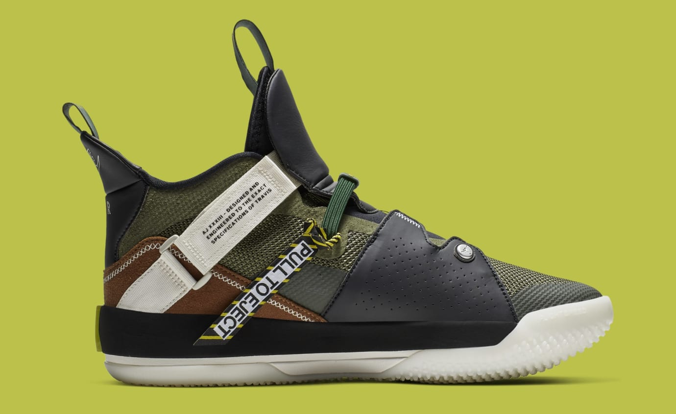 Travis Scott x Air Jordan 33 NRG 'Army Olive/Black-Ale Brown-Sail' CD5695-300 (Medial)