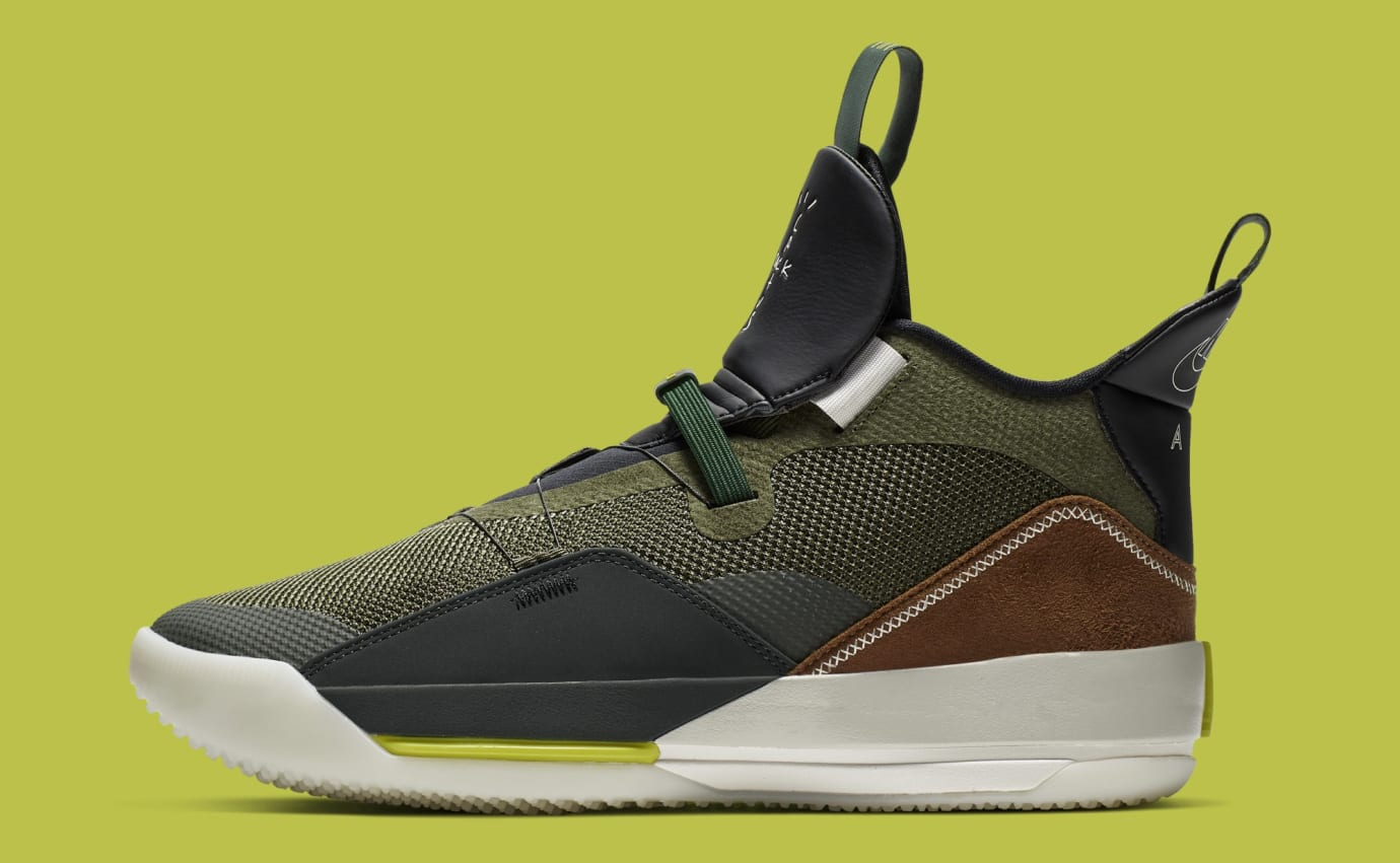 40202cd5154f3e Travis Scott x Air Jordan 33 NRG  Army Olive Black-Ale Brown-