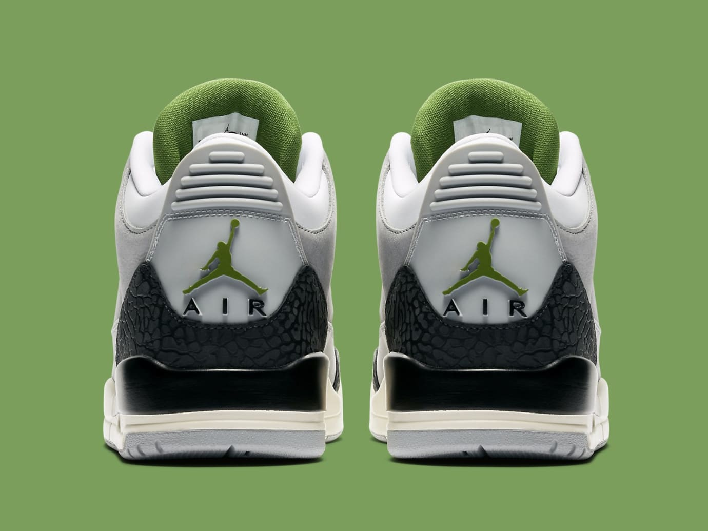 df7f952e40a6f3 Image via Nike Air Jordan 3 III Chlorophyll Tinker Release Date 136064-006  Heel