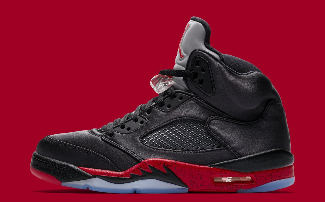 promo code df176 6f2b8 Air Jordan 5 Retro  Black University Red  136027-006 (Lateral)