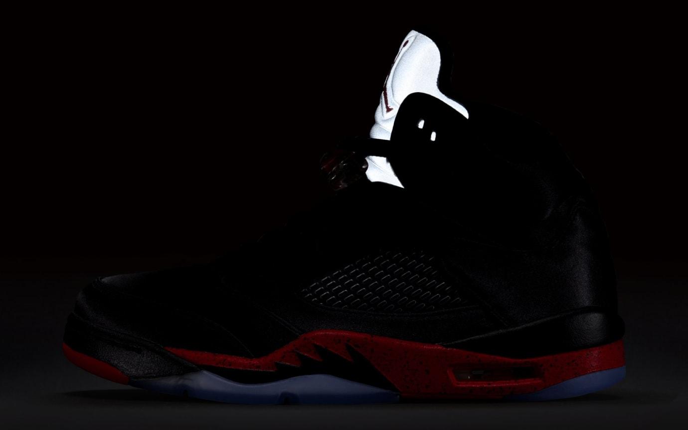 8cd11bf60737cd Image via Nike Air Jordan 5 Retro  Black University Red  136027-006  (Reflective)
