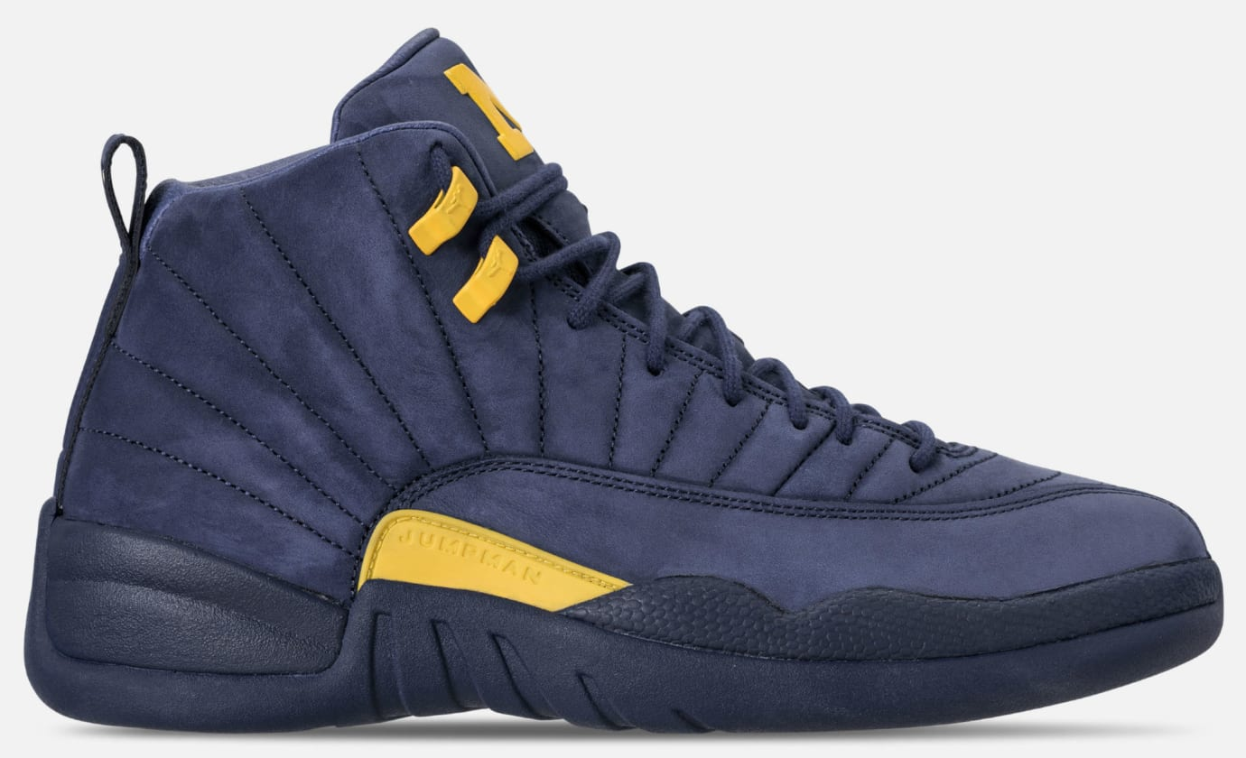 371787100b60 Michigan  Air Jordan 12 College Navy Amarillo BQ3180-407 Release ...