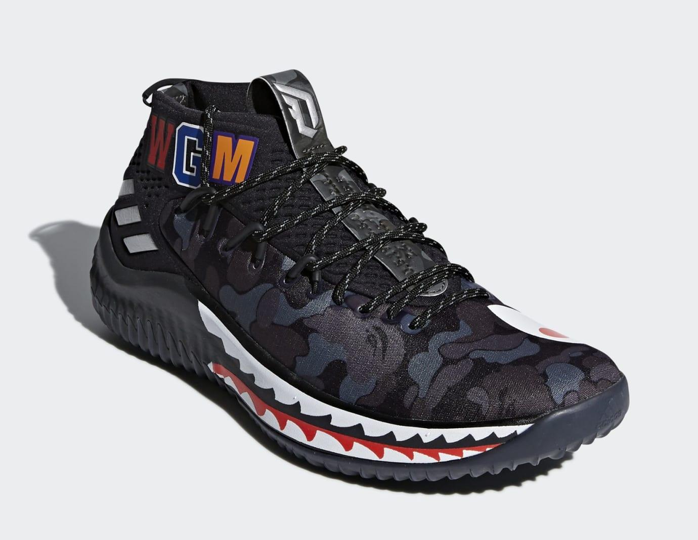 BAPE x Adidas Dame 4 'Black Camo' AP9975 (Toe)