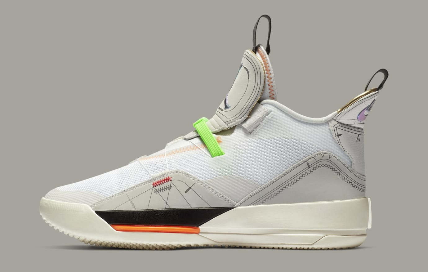 Air Jordan 33 'Vast Grey/Cone-Sail-White' AQ8830-004 (Lateral)