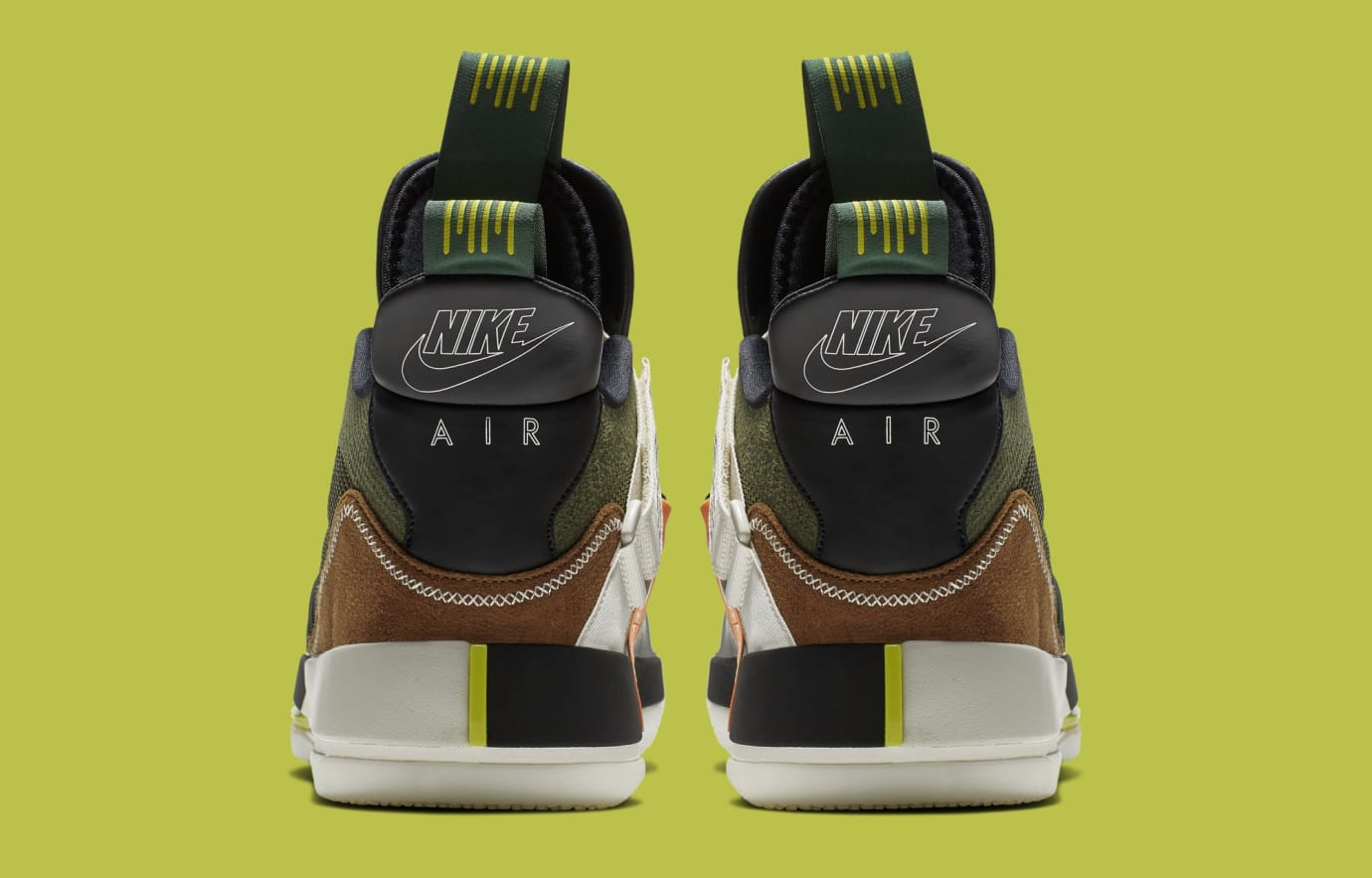 Travis Scott x Air Jordan 33 NRG 'Army Olive/Black-Ale Brown-Sail' CD5695-300 (Heel)