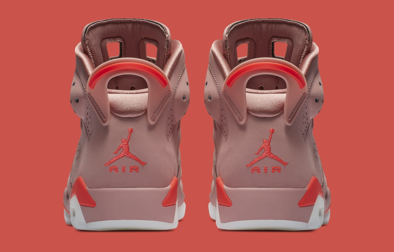 Aleali May x Air Jordan 6 'Rust Pink/Bright Crimson' CI0550-600 (Heel)