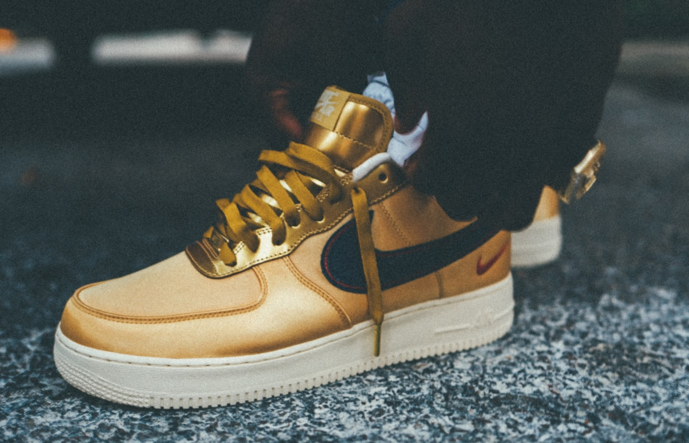 Nigel Sylvester x Nike Air Force 1 iD 'Gold' (On-Foot Detail)