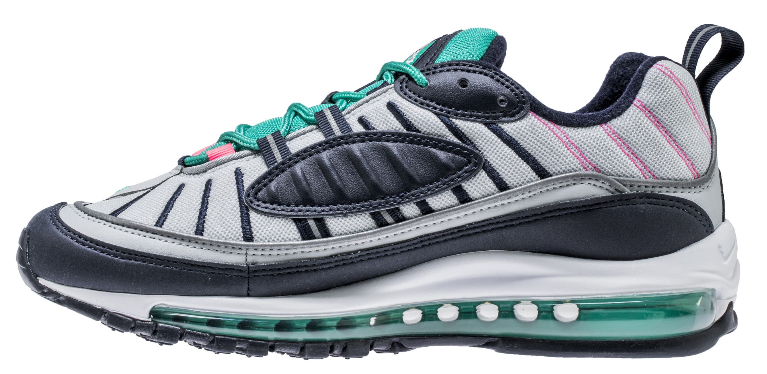 Nike Air Max 98 'Pure Platinum/Obsidian/Kinetic Green' 640744-005 (Medial)