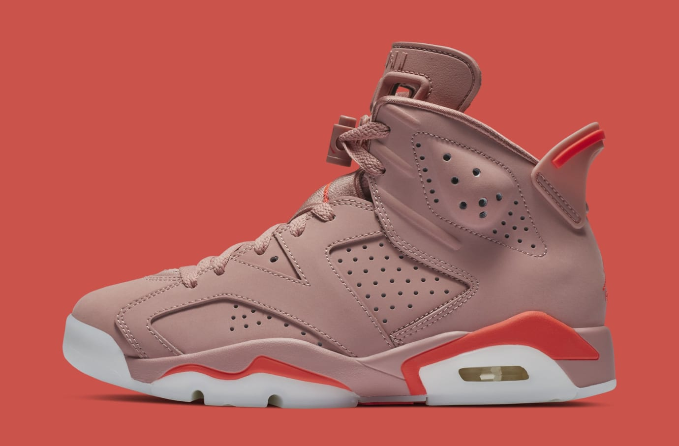 Aleali May x Air Jordan 6 'Rust Pink/Bright Crimson' CI0550-600 (Lateral)