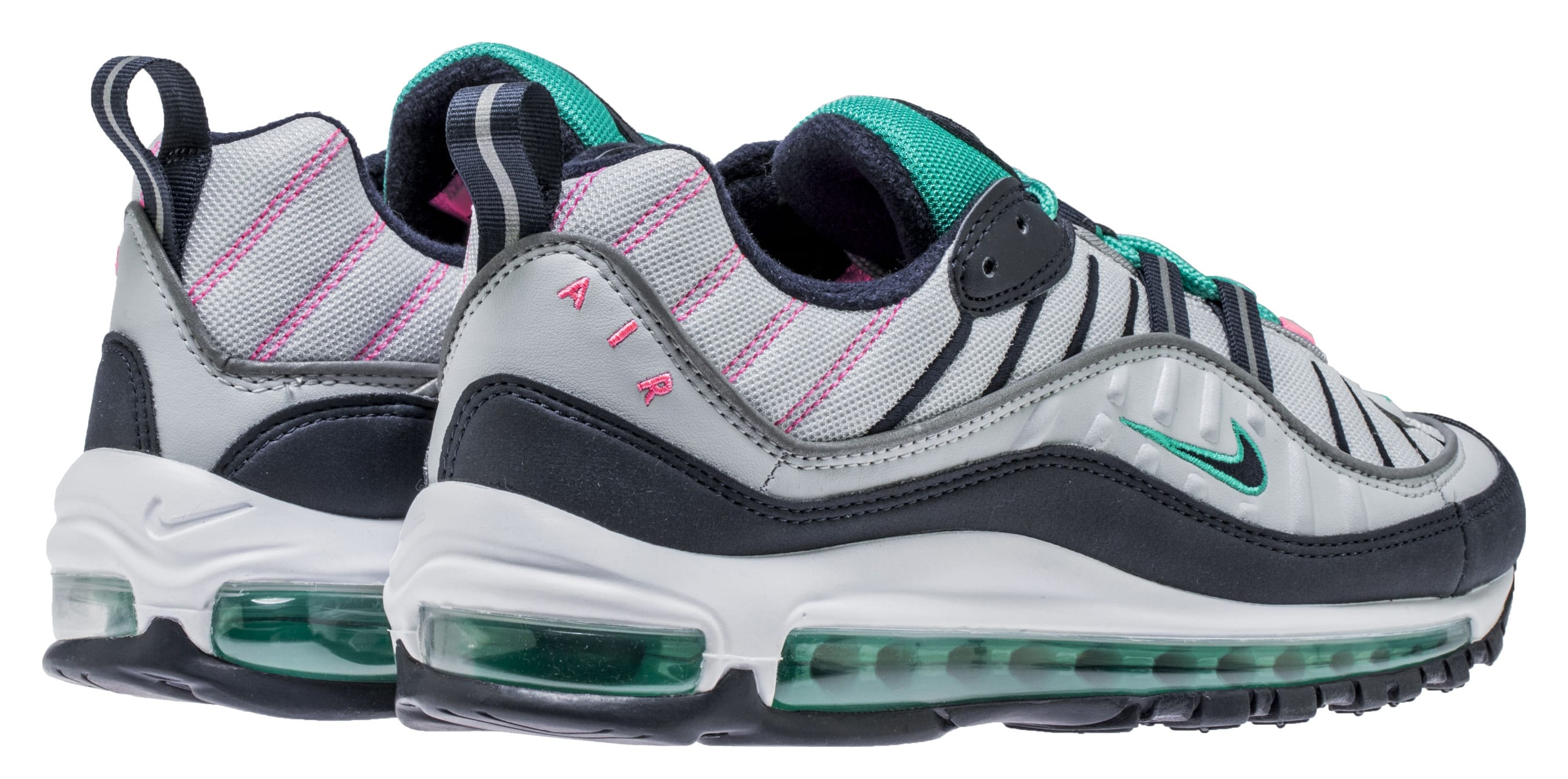 Nike Air Max 98 'Pure Platinum/Obsidian/Kinetic Green' 640744-005 (Back Pair)