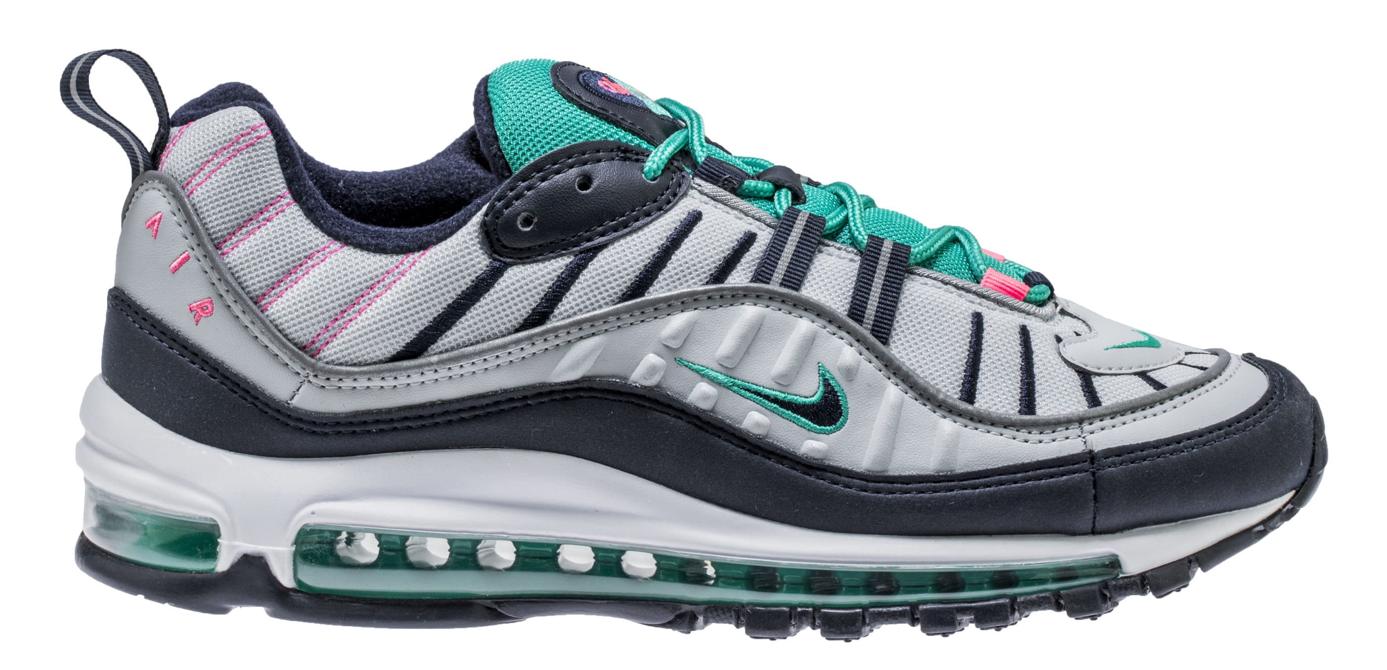 Nike Air Max 98 'Pure Platinum/Obsidian/Kinetic Green' 640744-005 (Lateral)