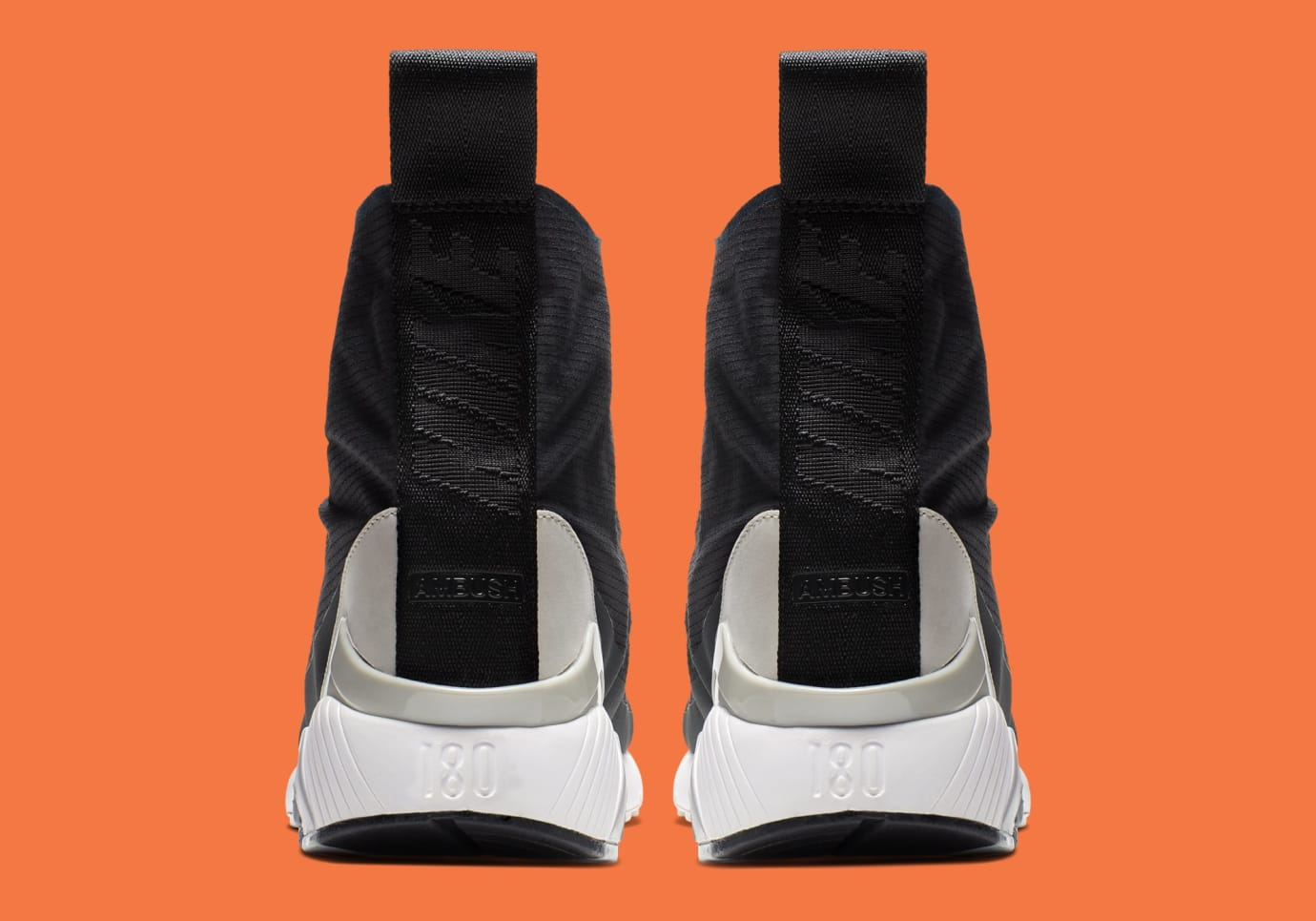 Ambush x Nike Air Max 180 Hi 'Black/Black-Pale Grey' BV0145-001 (Heel)
