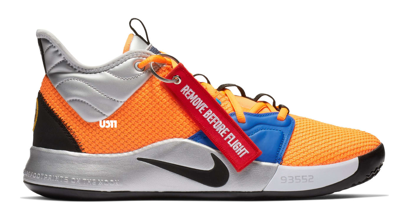 Nike PG 3 'NASA' Total Orange/Black-Metallic Silver (Lateral)