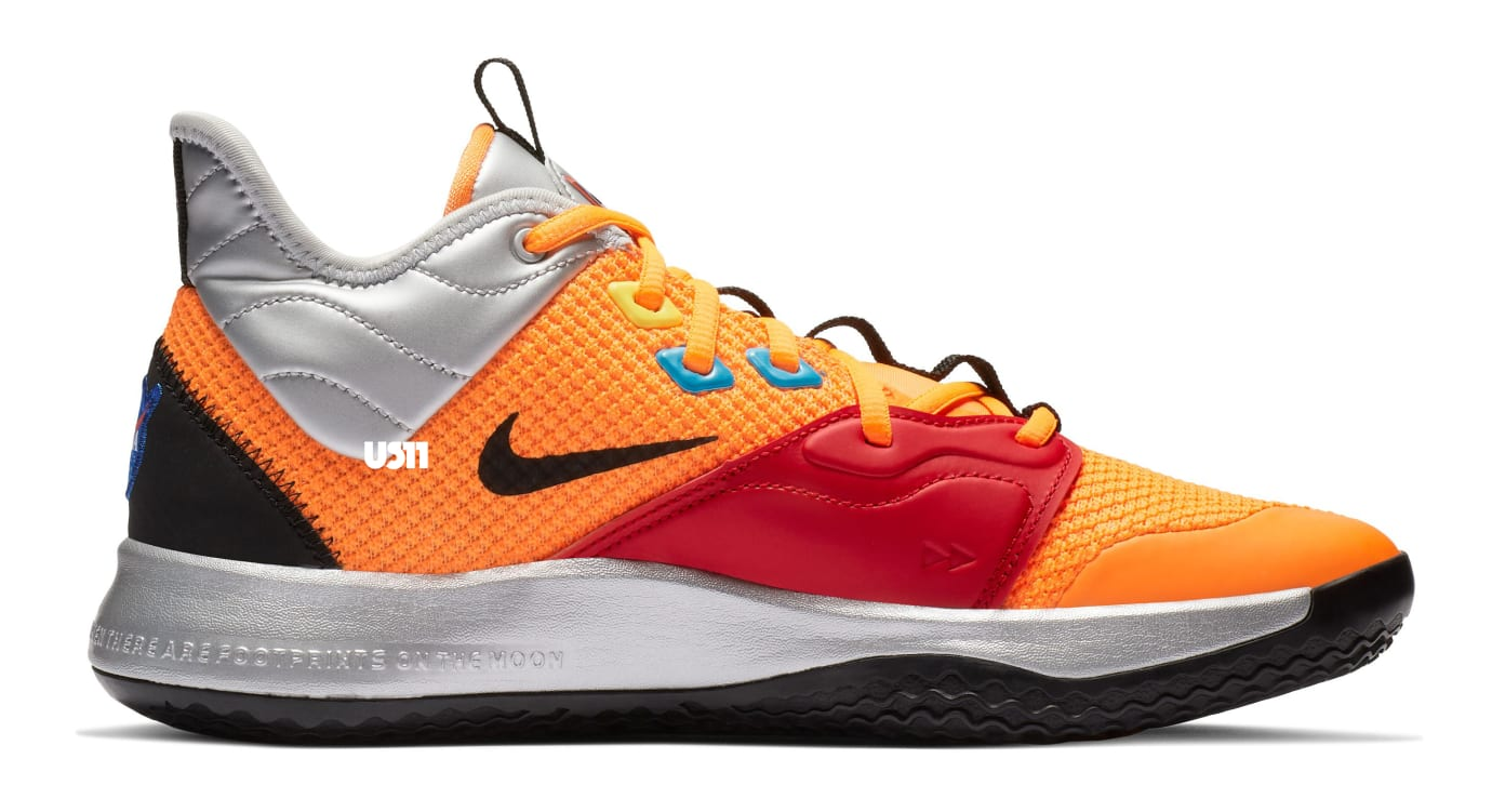 Nike PG 3 'NASA' Total Orange/Black-Metallic Silver (Medial)