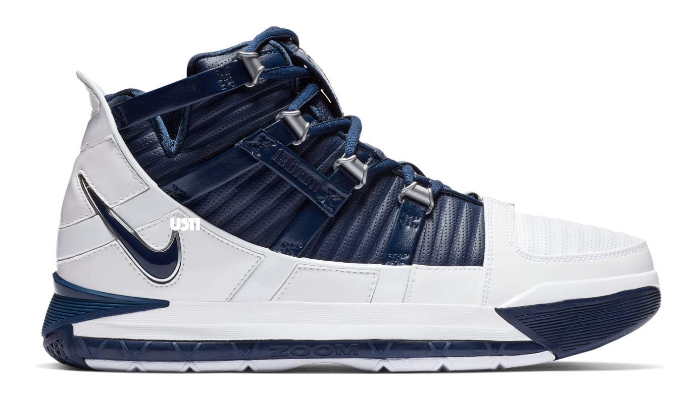 Nike Zoom LeBron 3 'White/Navy Blue/Silver' (Lateral)