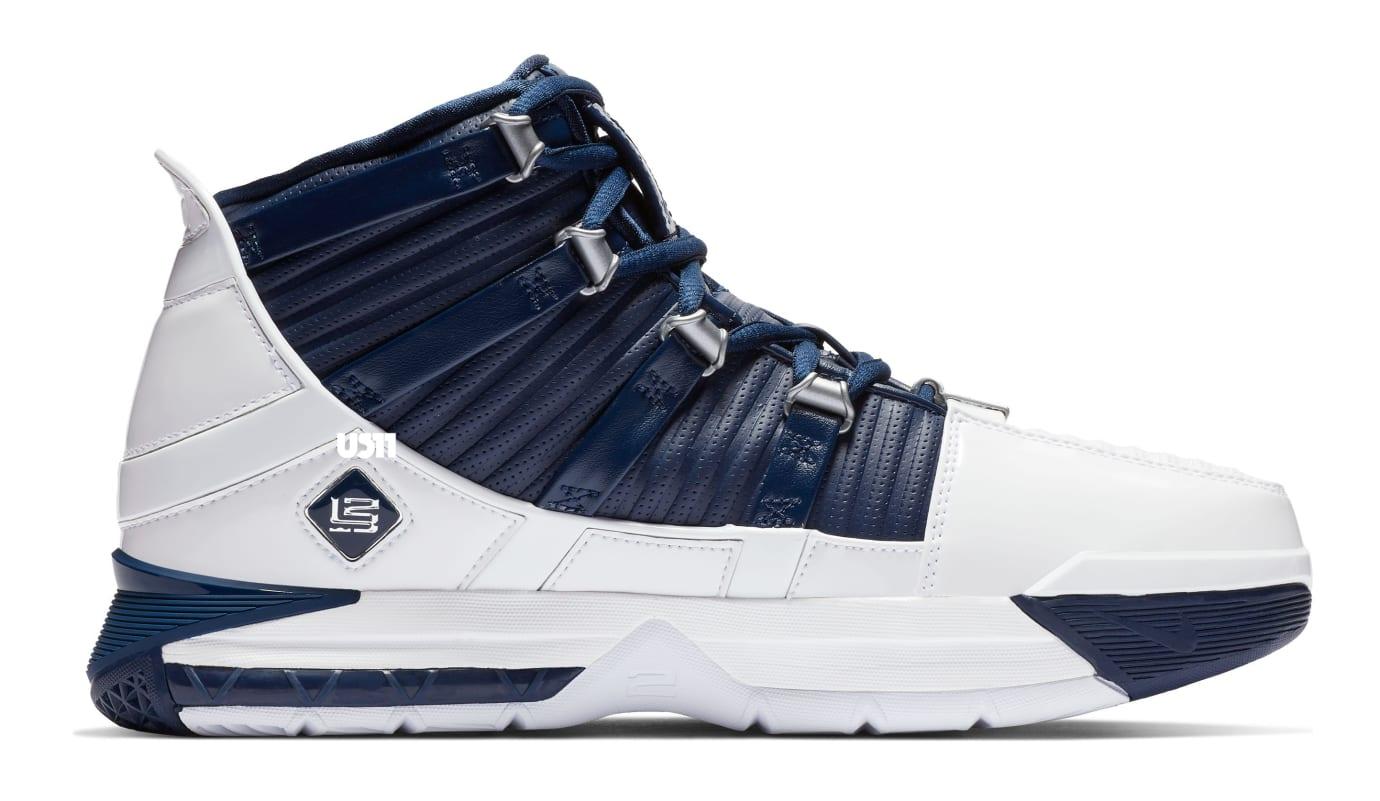 Nike Zoom LeBron 3 'White/Navy Blue/Silver' (Medial)