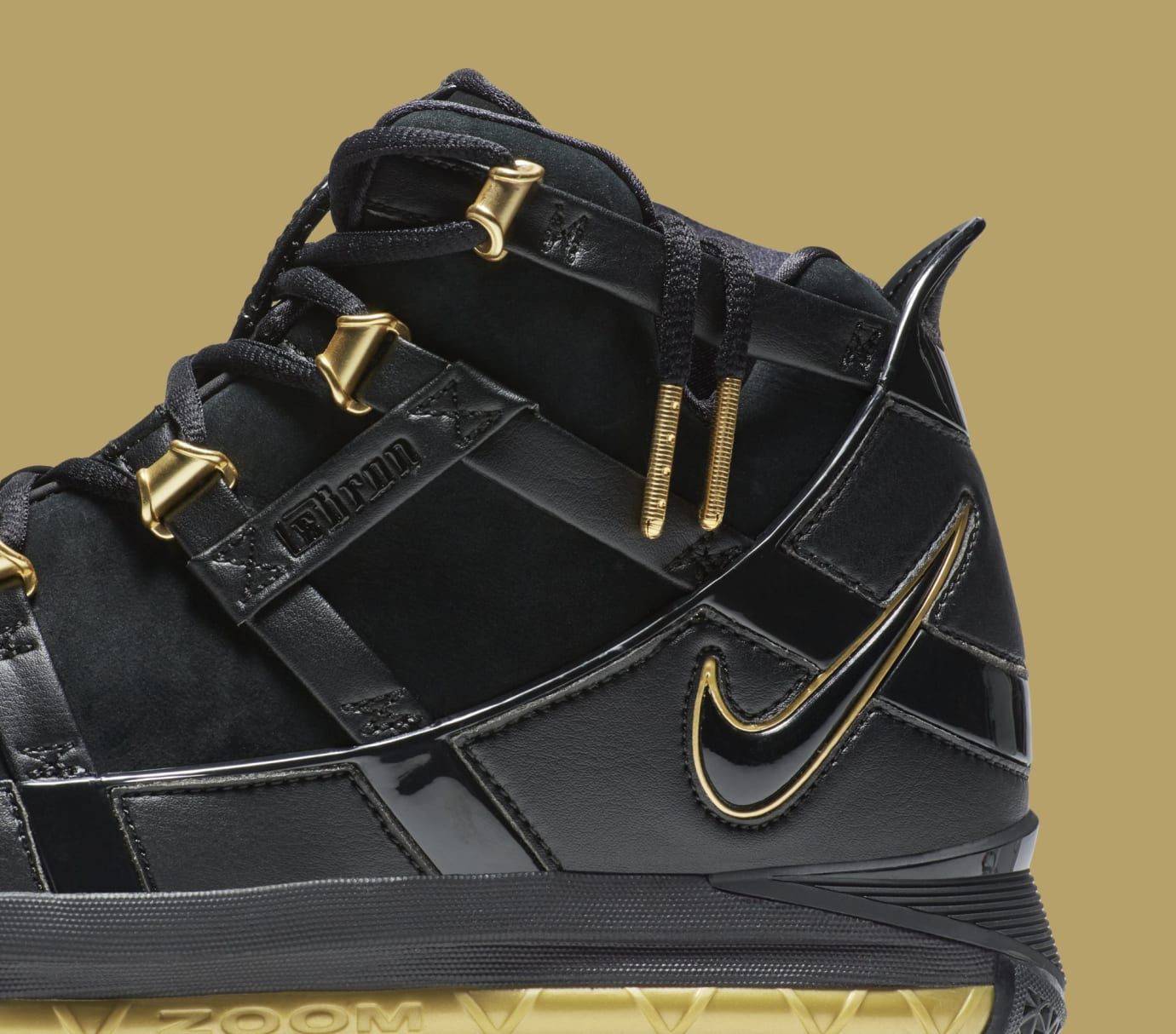 Nike LeBron 3 'Black/Gold' Retro AO2434-001 (Detail)