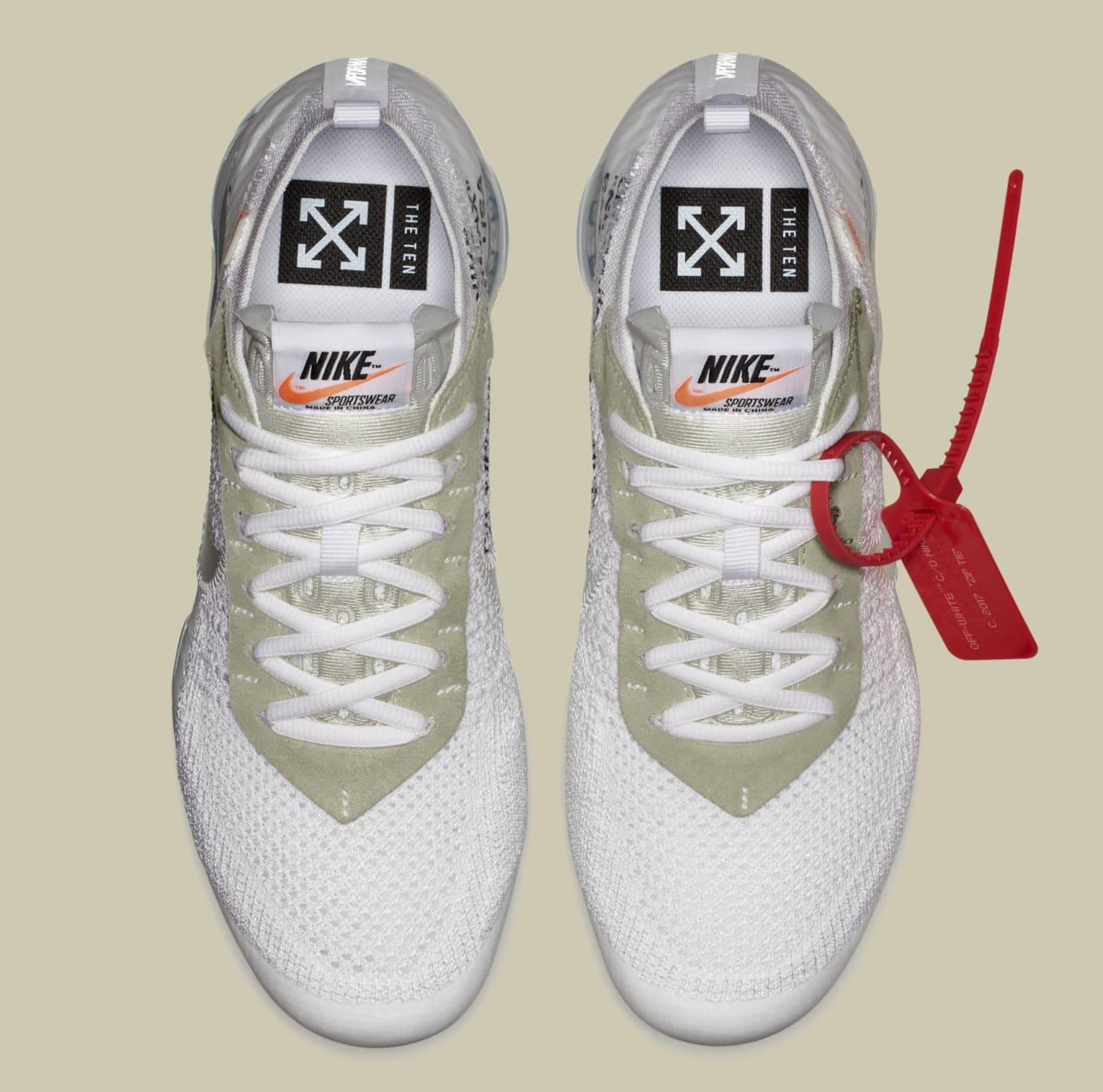 Off-White x Nike Air VaporMax 'White/Black/Total Orange' AA3831-100 (Top)