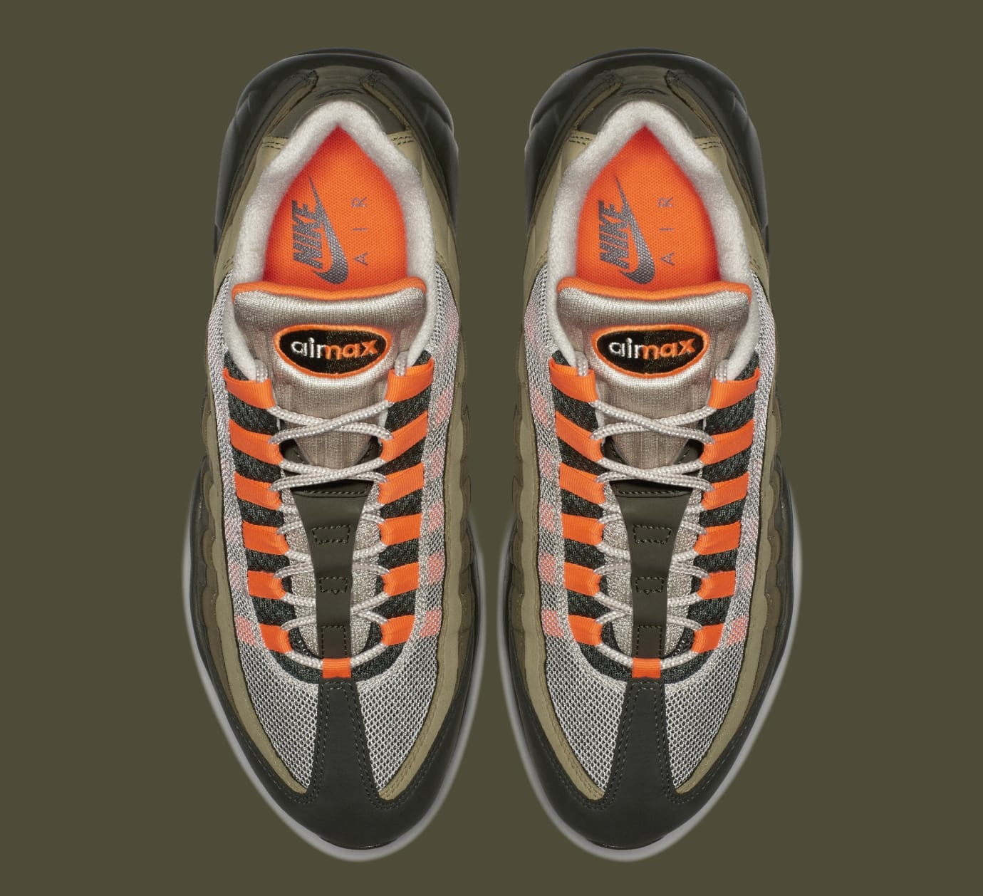 4895ab2df09 Image via Nike Nike Air Max 95 OG  String Total Orange Neutral Olive   AT2865-