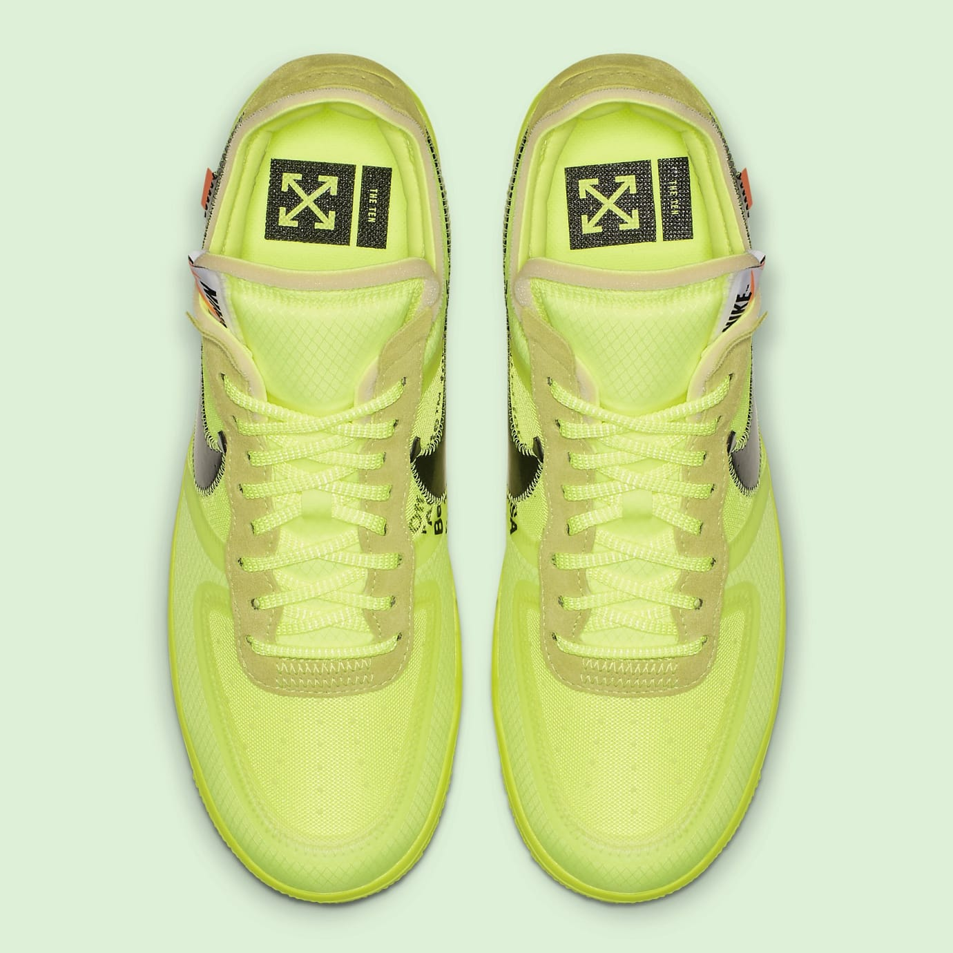 sale retailer 74517 c14cc Off-White x Nike Air Force 1 Low 'Volt/Cone/Black/Hyper Jade ...